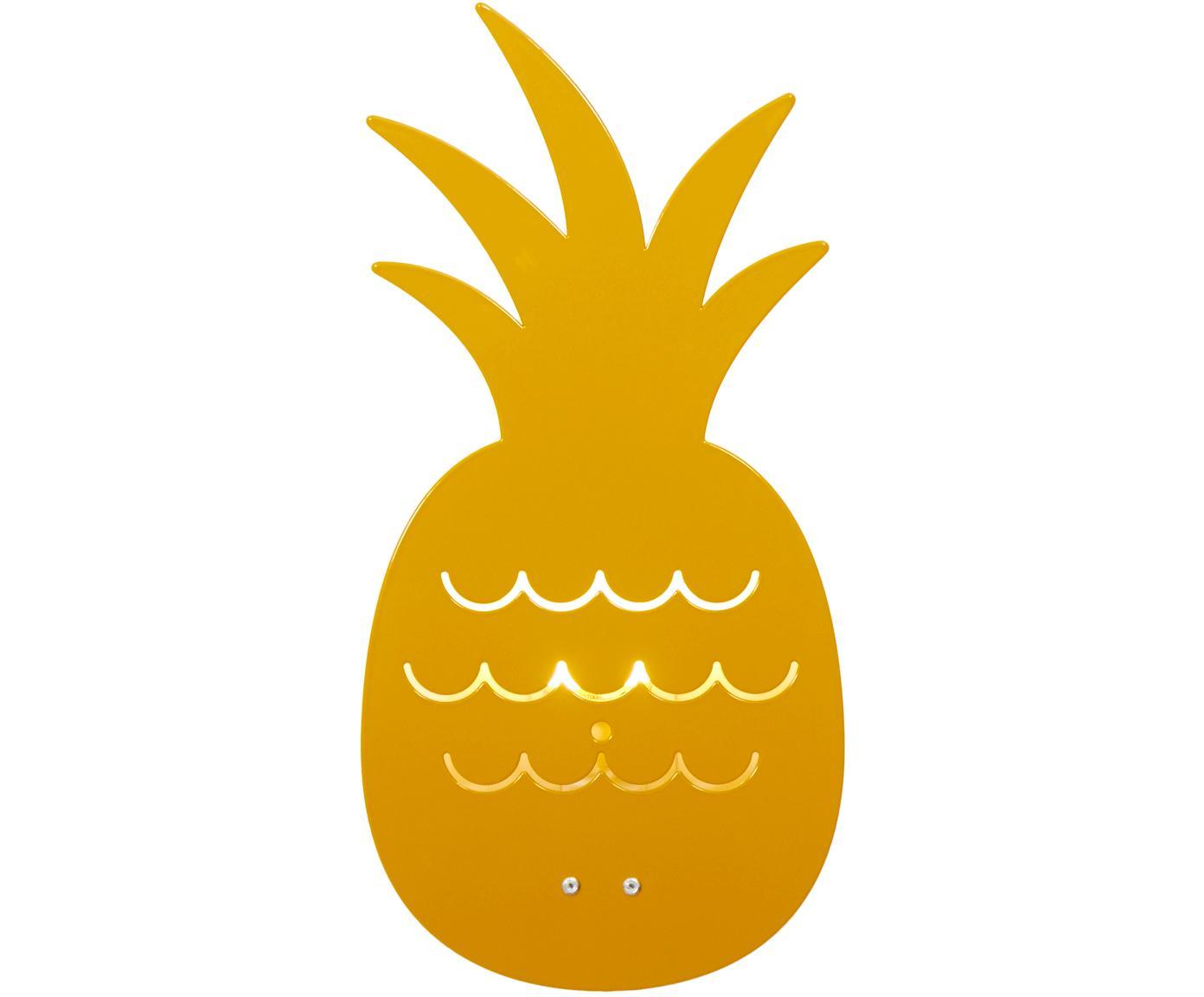 Wandlamp Pineapple, Gepoedercoat metaal, Okergeel, 17 x 33 cm