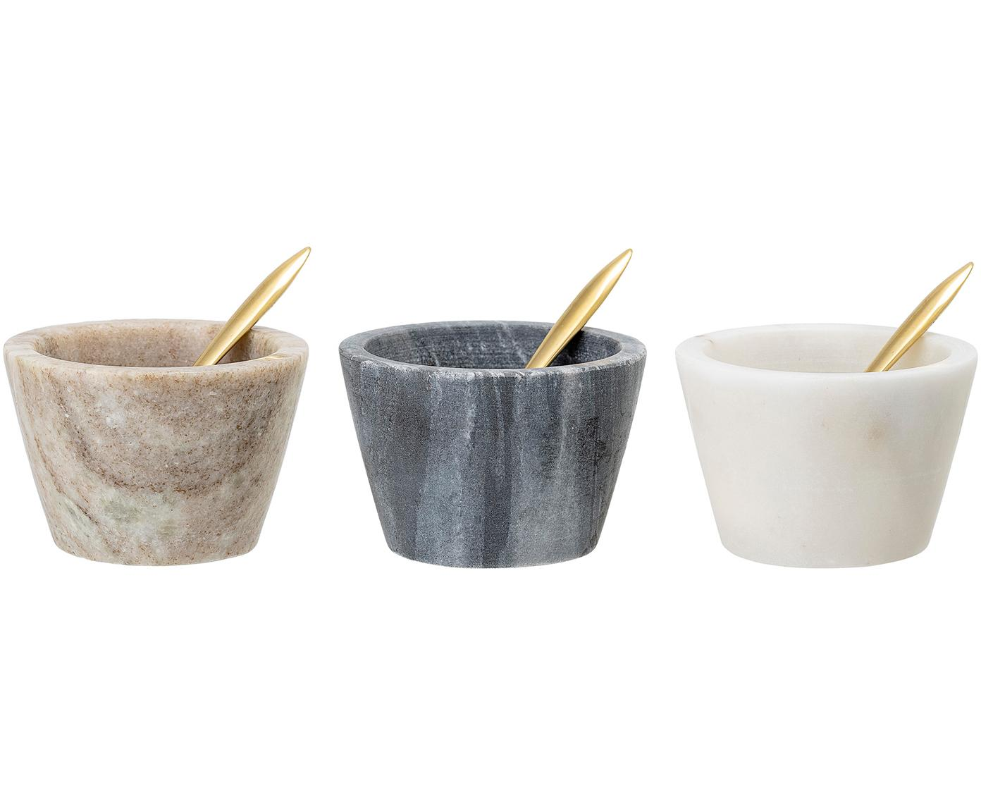 Set de 3 cuencos de mármol Janina, Cuencos: mármol, Cuchara: latón, Multicolor, Ø 8x Al 5 cm