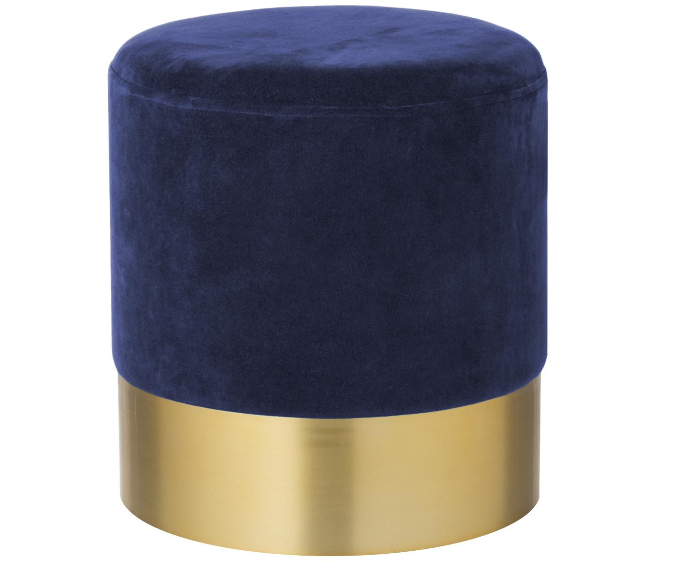 Fluwelen poef Harlow, Bekleding: katoen fluweel, Voet: gepoedercoat ijzer, Marineblauw, goudkleurig, Ø 38 x H 42 cm