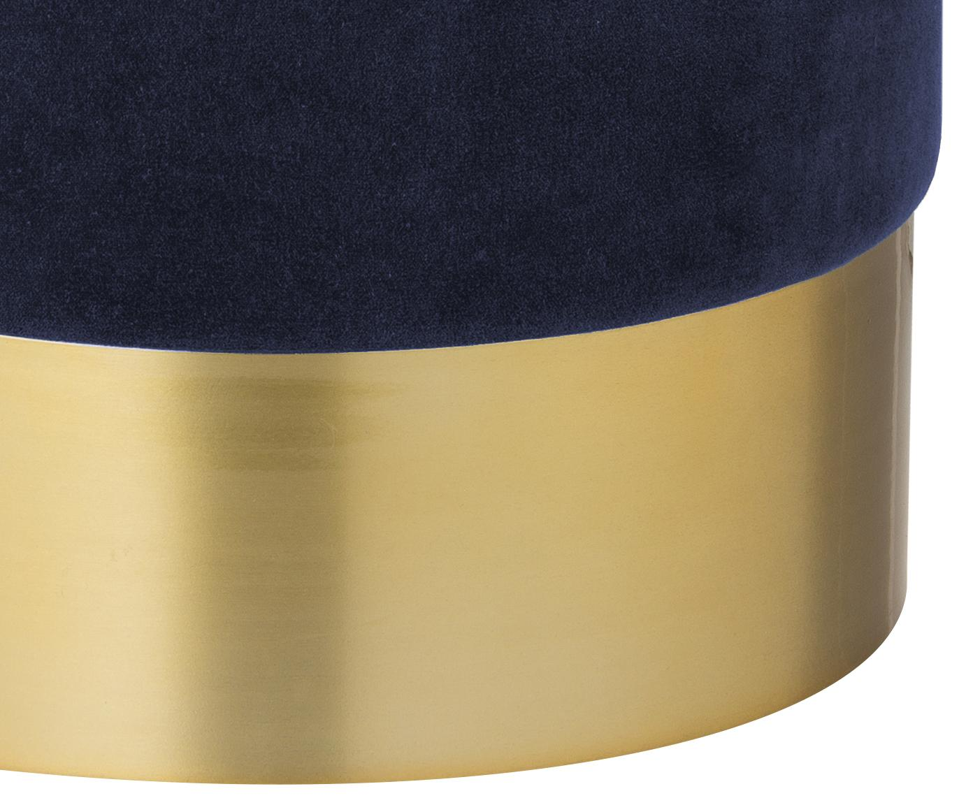 Samt-Hocker Harlow, Bezug: Baumwollsamt, Fuß: Eisen, pulverbeschichtet, Marineblau, Goldfarben, Ø 38 x H 42 cm