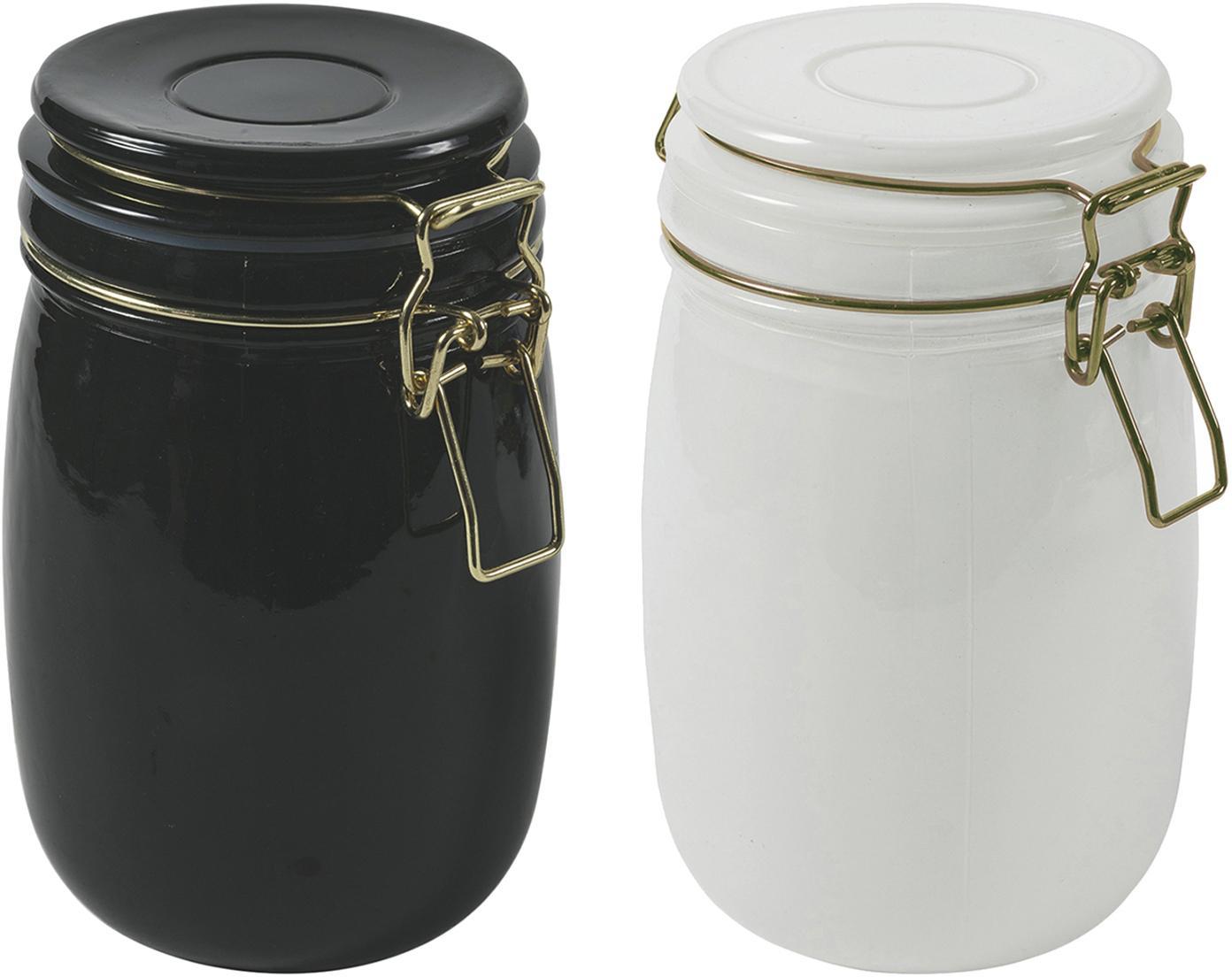 Aufbewahrungsdosen-Set Modern, 2-tlg., Behälter: Glas,, Verschluss: Metall, Weiß, Schwarz, Ø 10 x H 14 cm