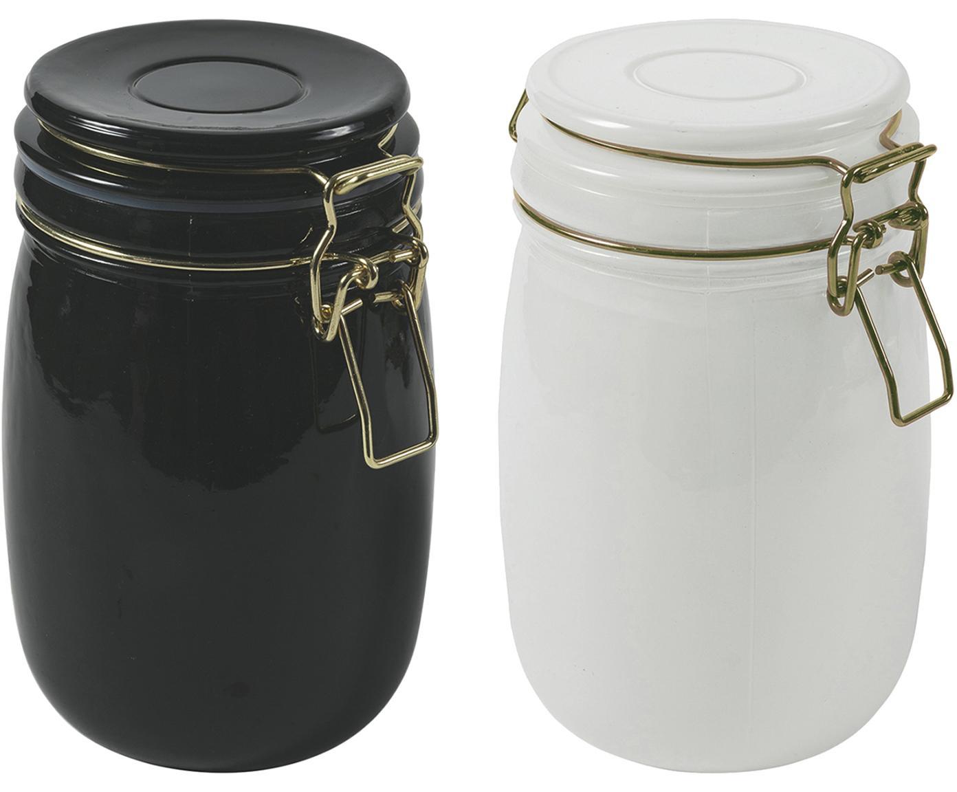 Aufbewahrungsdosen-Set Modern, 2-tlg., Behälter: Glas,, Verschluss: Metall, Weiss, Schwarz, Ø 10 x H 14 cm