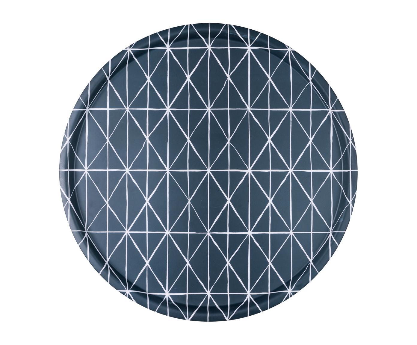 Rundes Tablett Ystad in Blau/Weiß, Melamin, Blau, Weiß, Ø 41 cm