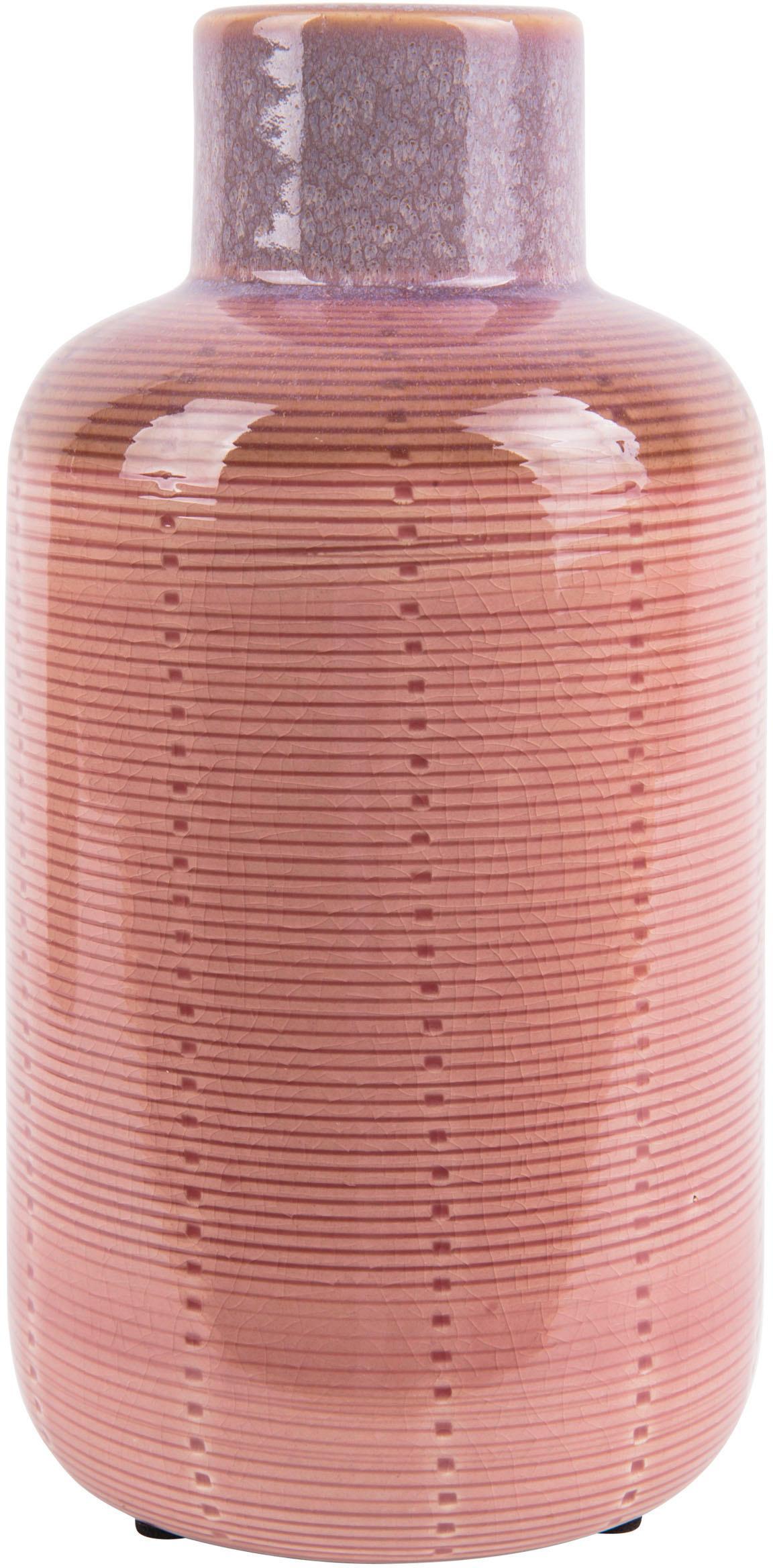 Vase Bottle aus Keramik, Keramik, Rosa, Ø 12 x H 23 cm