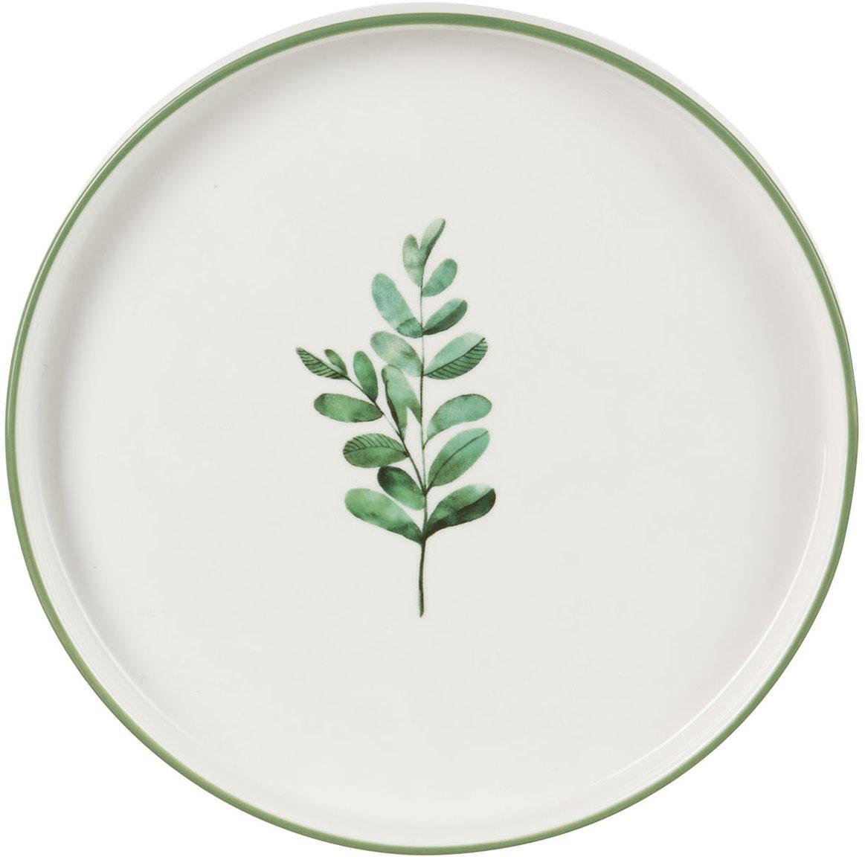 Talerz śniadaniowy Eukalyptus, 4 szt., Porcelana, Biały, zielony, Ø 24 cm