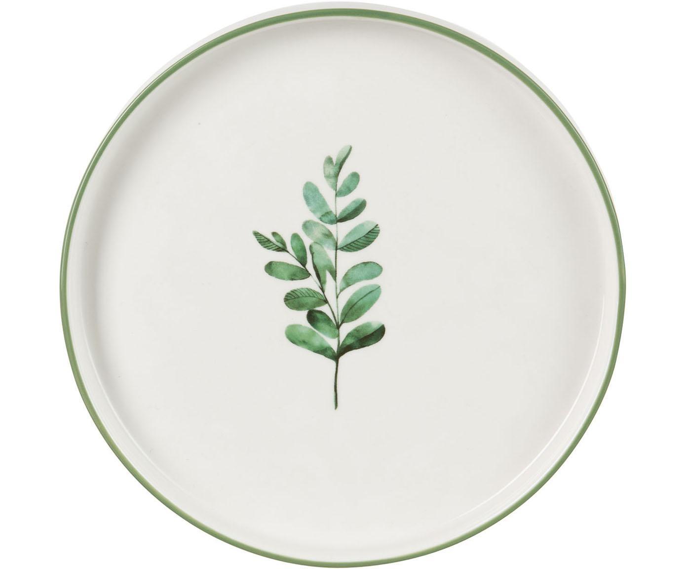 Frühstücksteller Eukalyptus mit Blatt-Motiv, 4 Stück, New Bone China, Weiß, Grün, Ø 24 cm