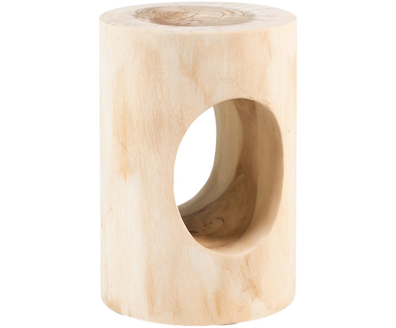 Taburete revistero artesanal Natural, Madera de roble maciza, Roble, Ø 47 x Al 30 cm