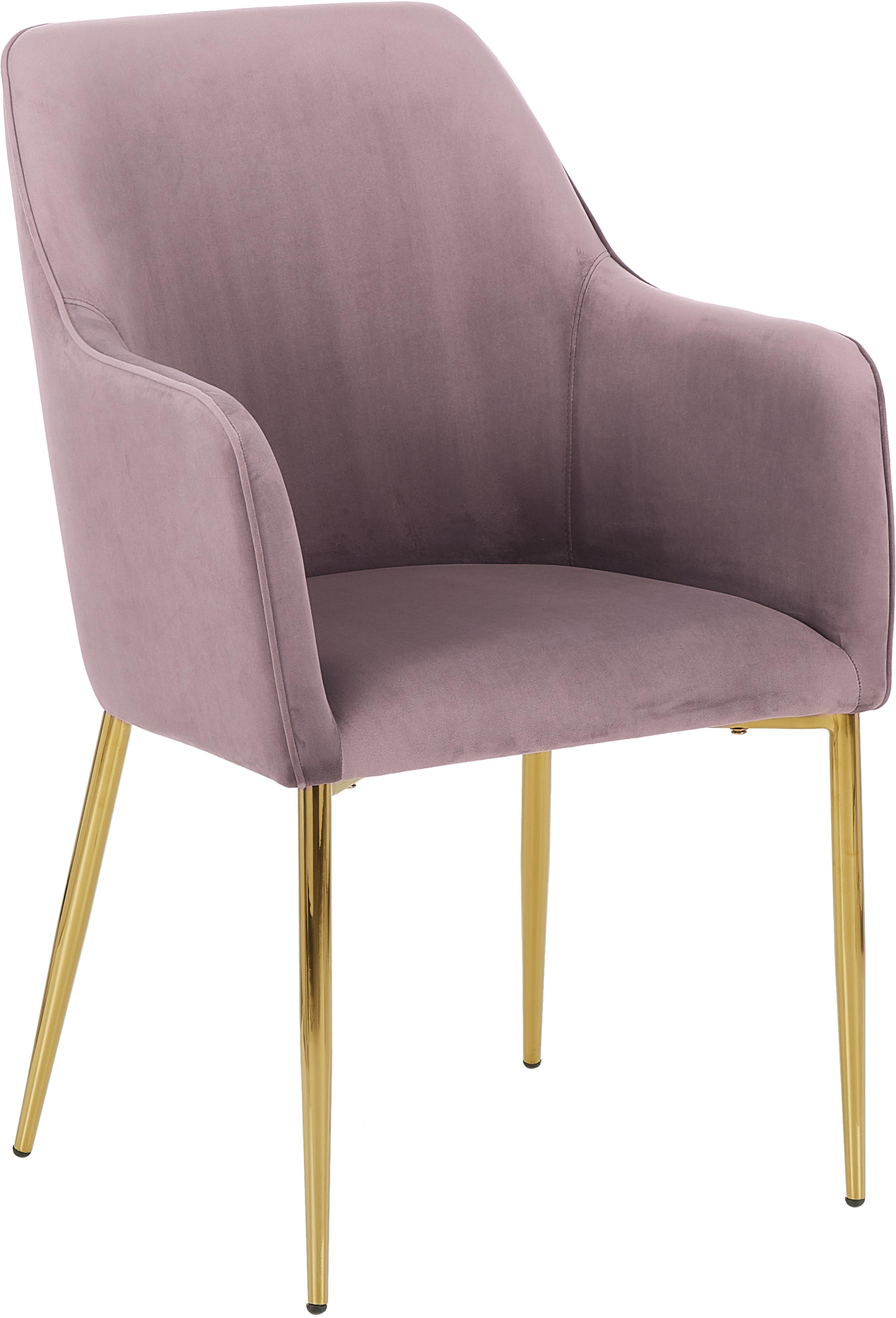 Krzesło z podłokietnikami  z aksamitu Ava, Tapicerka: aksamit (poliester) 5000, Nogi: metal galwanizowany, Aksamitny mauve, nogi: złoty, S 57 x G 62 cm