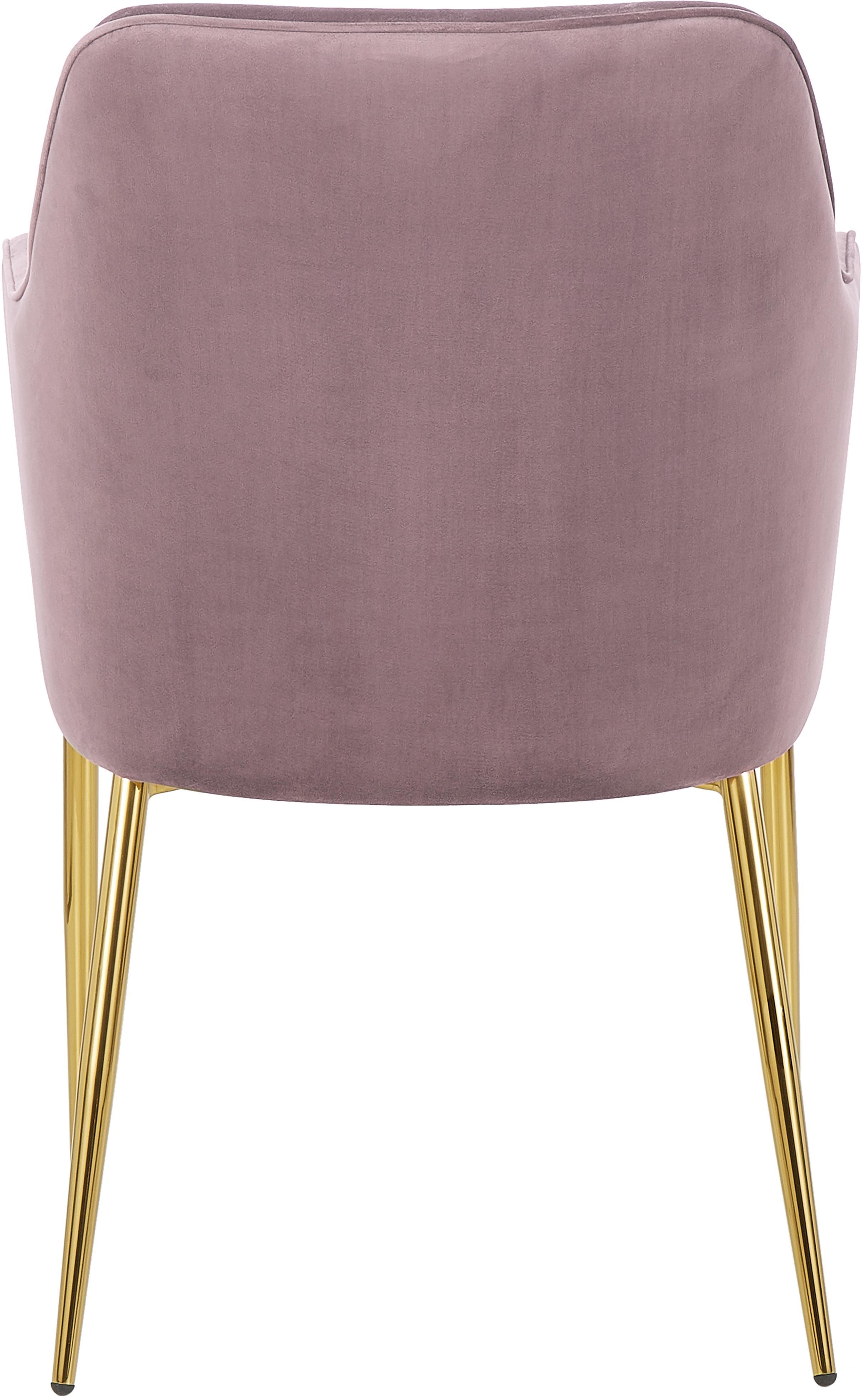 Fluwelen armstoel Ava met goudkleurige poten, Bekleding: fluweel (polyester), Poten: gegalvaniseerd metaal, Fluweel mauve, poten goudkleurig, B 57 x D 62 cm