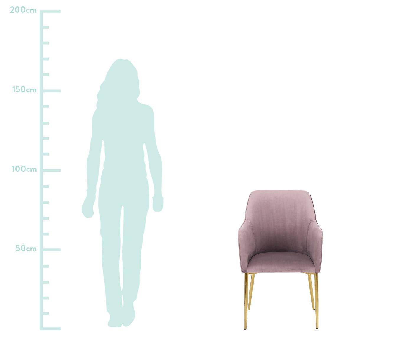Chaise en velours, à accoudoirs Ava, Mauve