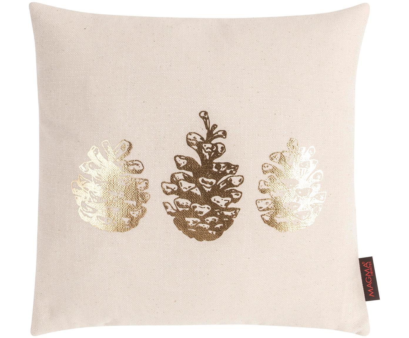 Poszewka na poduszkę Goldwert, Przód: beżowy, odcienie złotego Tył: beżowy, S 40 x D 40 cm