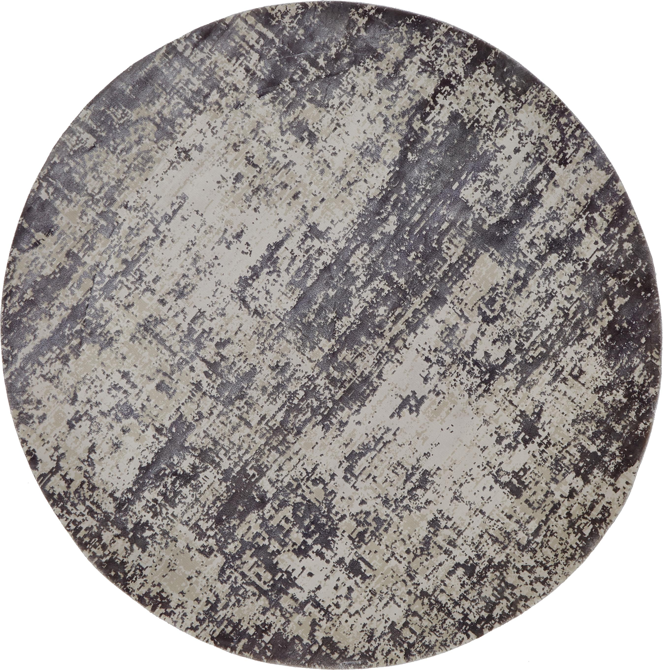 Alfombra redonda Cordoba, estilo vintage, Parte superior: 70%acrílico, 30%viscosa, Reverso: poliéster, Gris claro, gris oscuro, Ø 150 cm