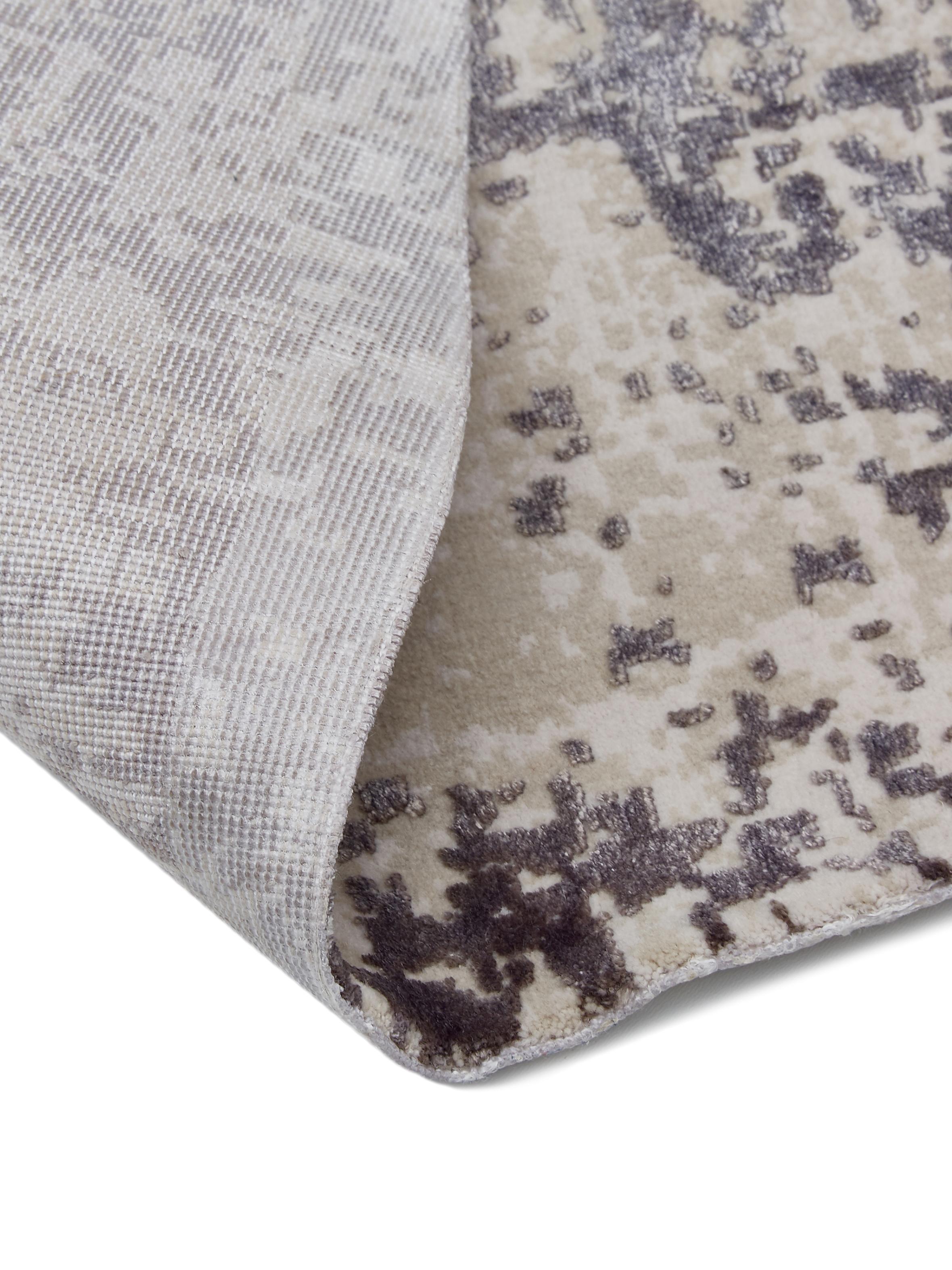 Runder Vintage Teppich Cordoba, schimmernd, Flor: 70% Acryl, 30% Viskose, Hellgrau, Dunkelgrau, Ø 150 cm (Größe M)