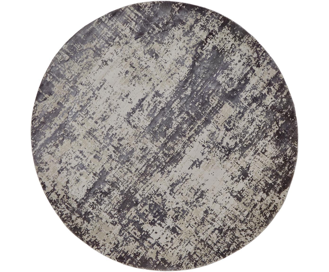 Tappeto rotondo vintage effetto lucido Cordoba, Retro: poliestere, Grigio chiaro, grigio scuro, Ø 150 cm (taglia M)