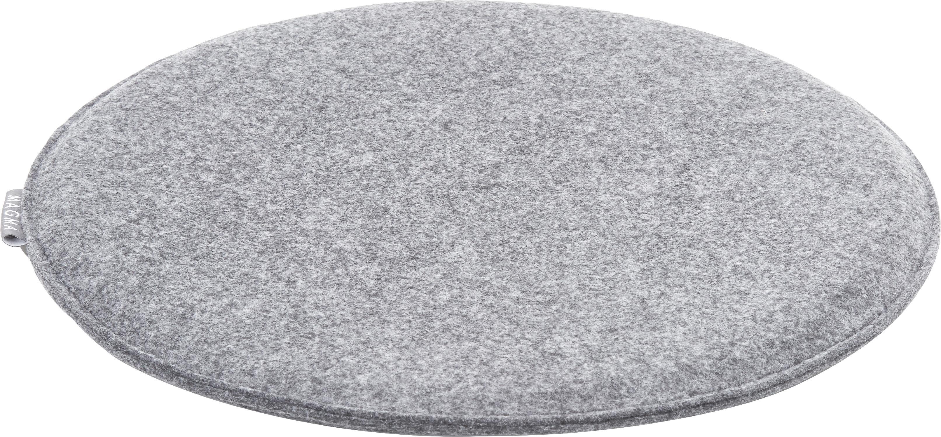 Runde Filz-Sitzauflagen Avaro, 4 Stück, Grau, Ø 35 x H 1 cm