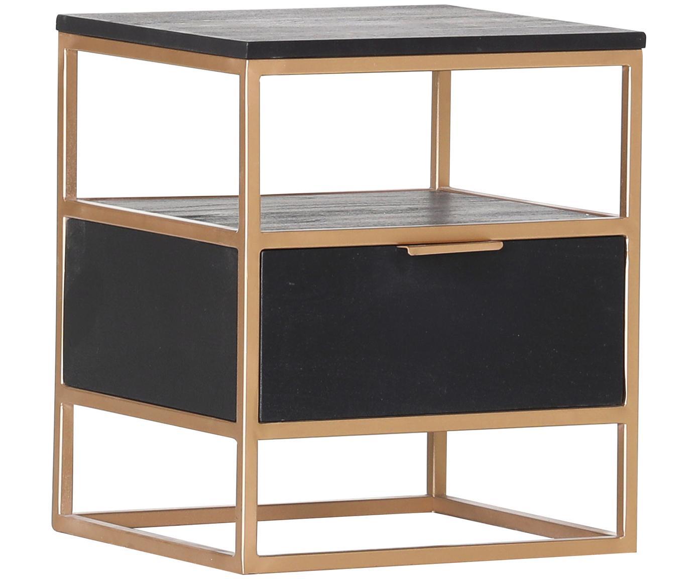 Tavolino con cassetto Porto, Ottone, legno d'acacia, Larg. 40 x Alt. 46 cm