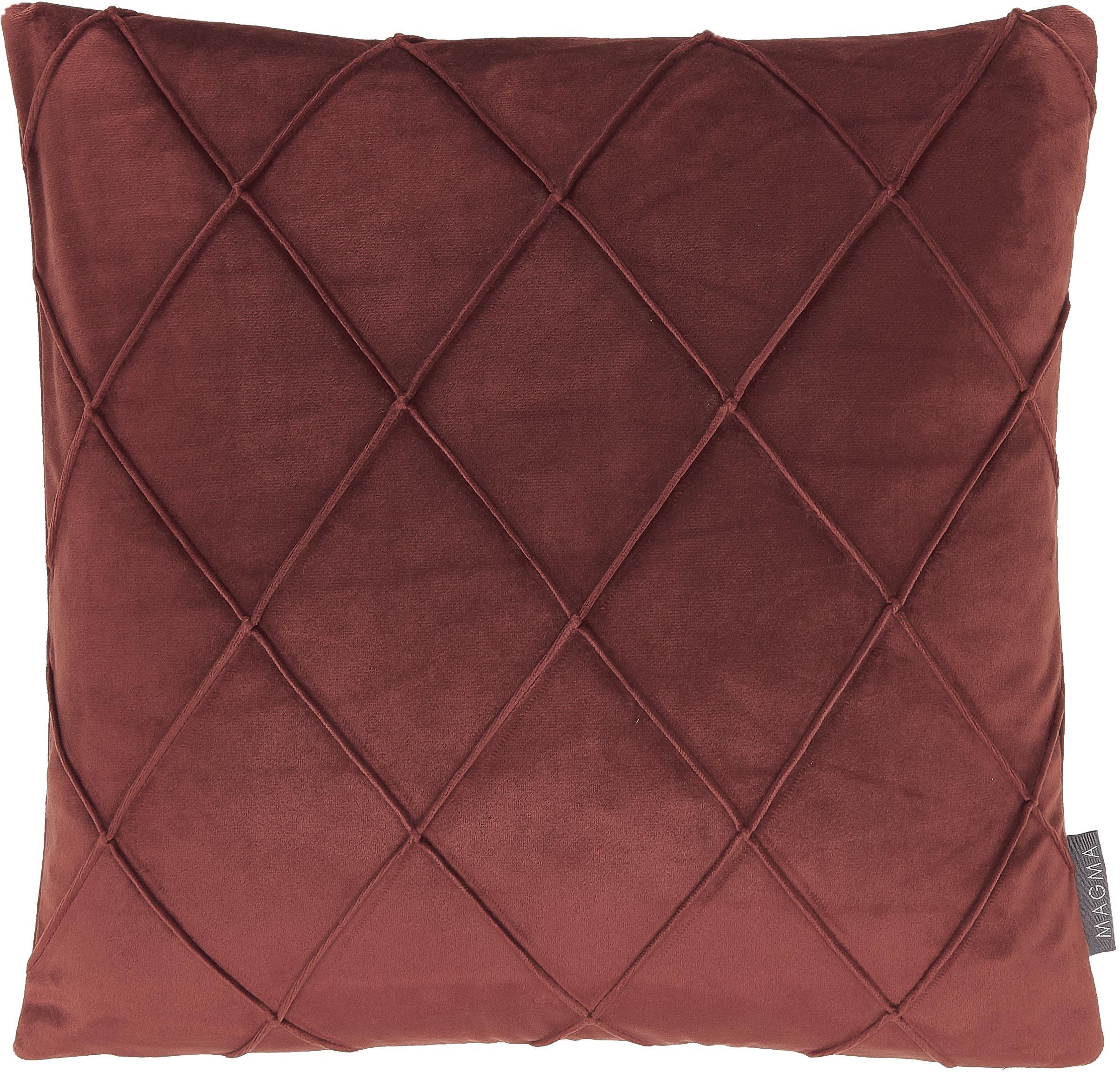 Federa arredo in velluto con motivo a rombi Nobless, Velluto di poliestere, Rosso terracotta, Larg. 40 x Lung. 40 cm