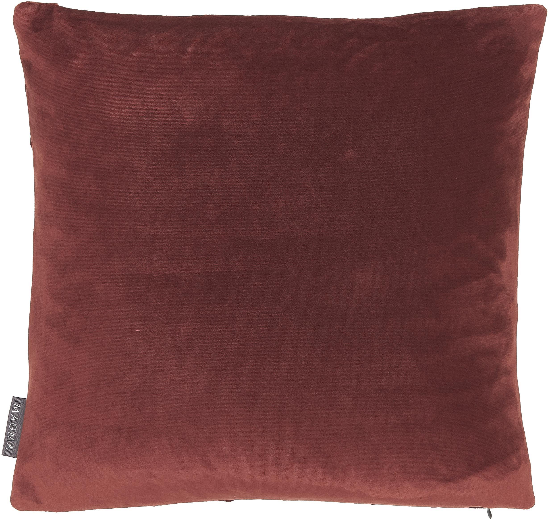 Fluwelen kussenhoes Nobless, 100% polyester fluweel, Terracottarood, 40 x 40 cm