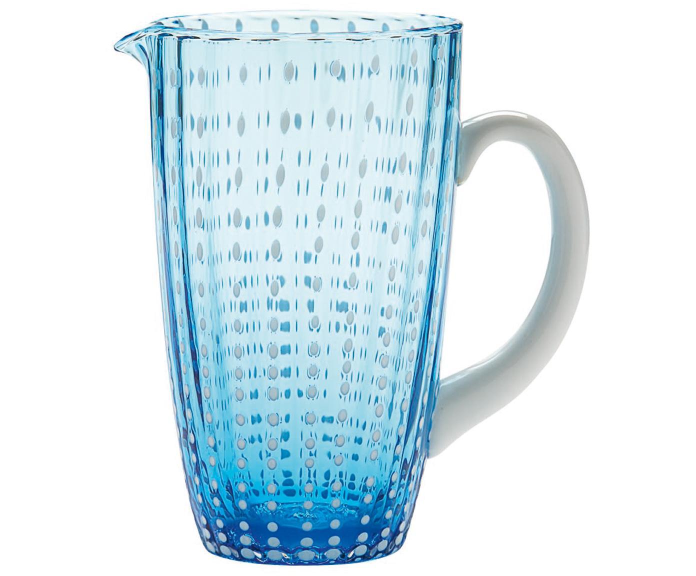 Jarra sopada a mano Perle, Vidrio, Azul transparente, blanco, 1.6 L