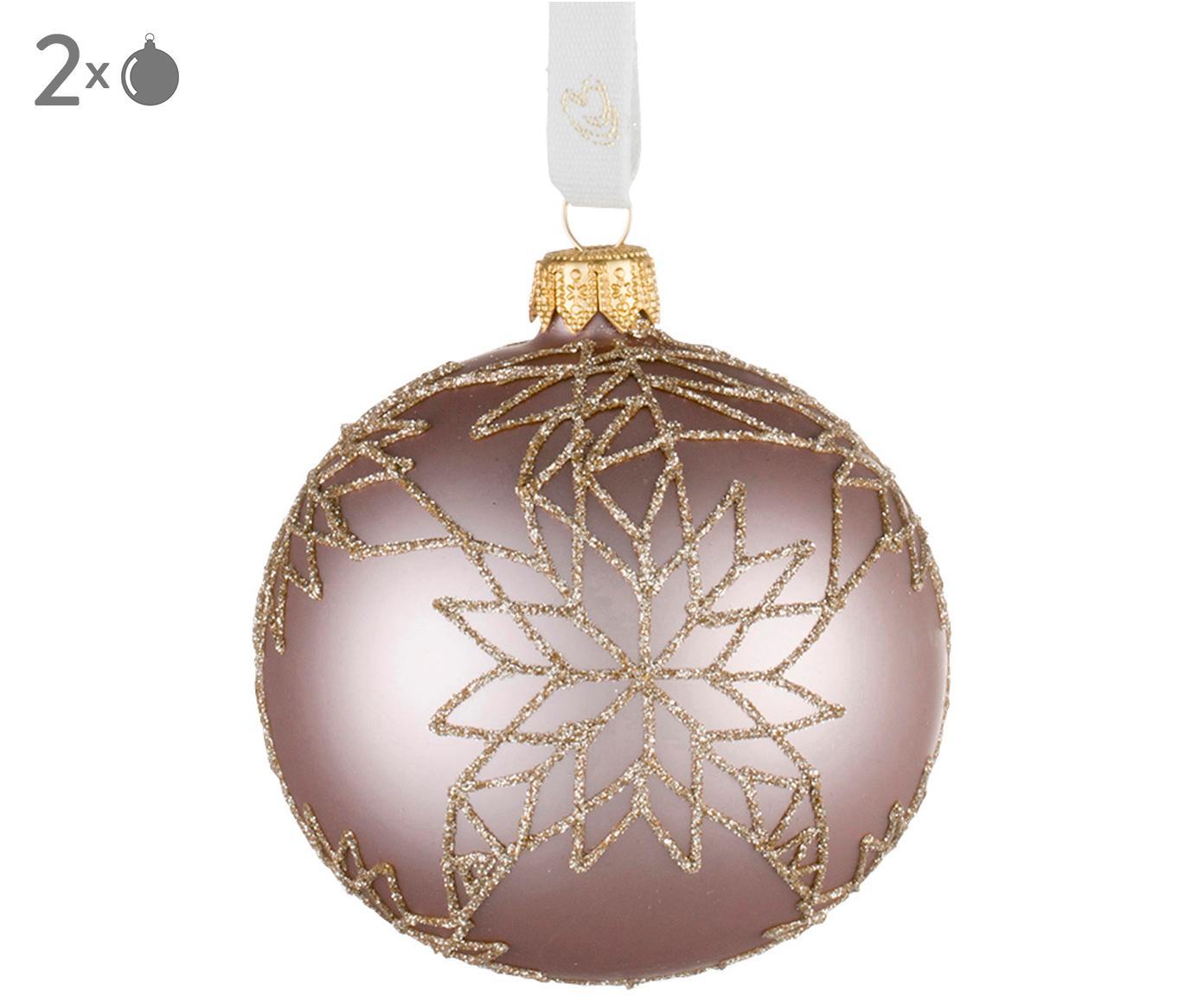 Kerstballen Cadelia, 2 stuks, Roze, goudkleurig, Ø 8 x H 8 cm
