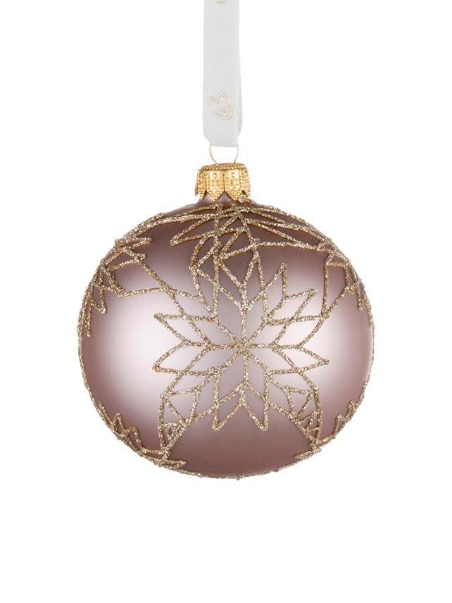 Bolas de Navidad Cadelia, Ø 8 cm, 2uds., Rosa, dorado, Ø 8 cm