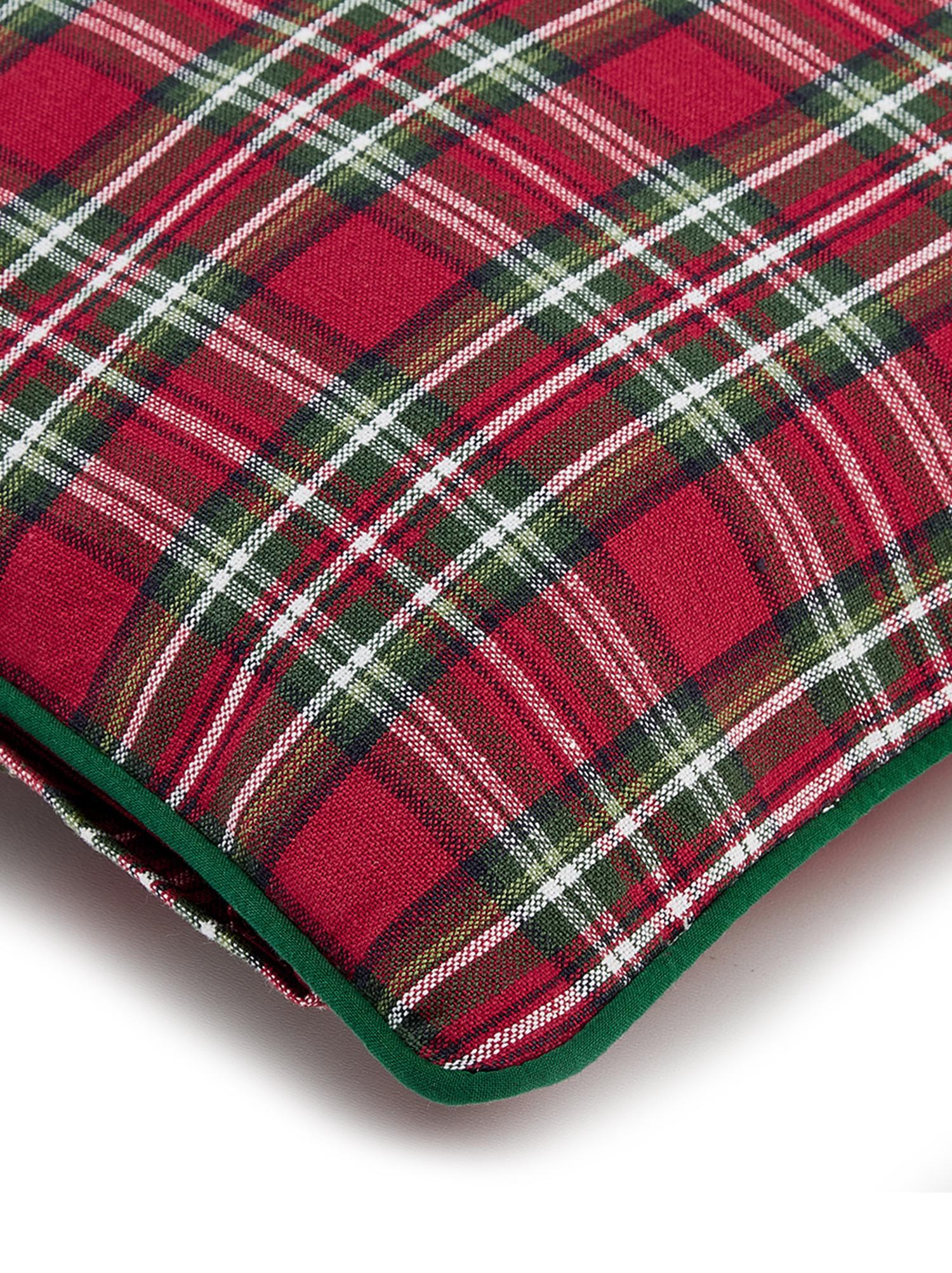 Funda de cojín Tartan, 100%algodón, Rojo, verde oscuro, An 45 x L 45 cm