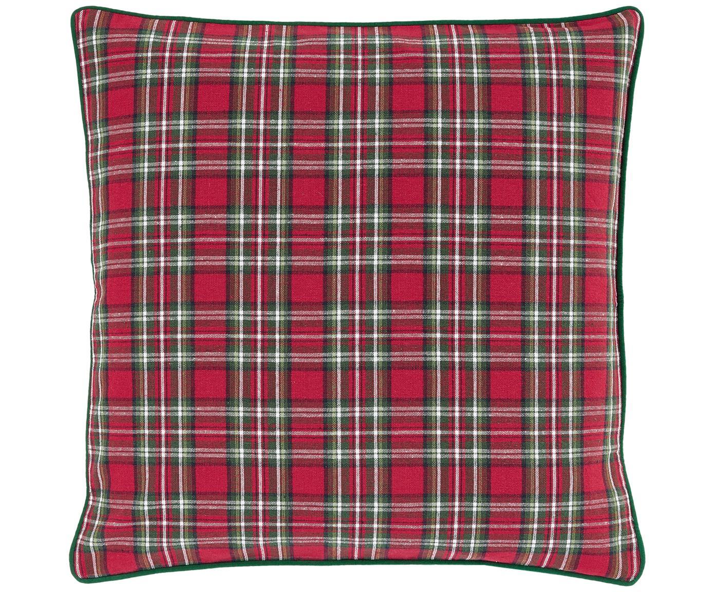 Karierte Kissenhülle Tartan in Rot und Grün, Baumwolle, Rot, Dunkelgrün, 45 x 45 cm