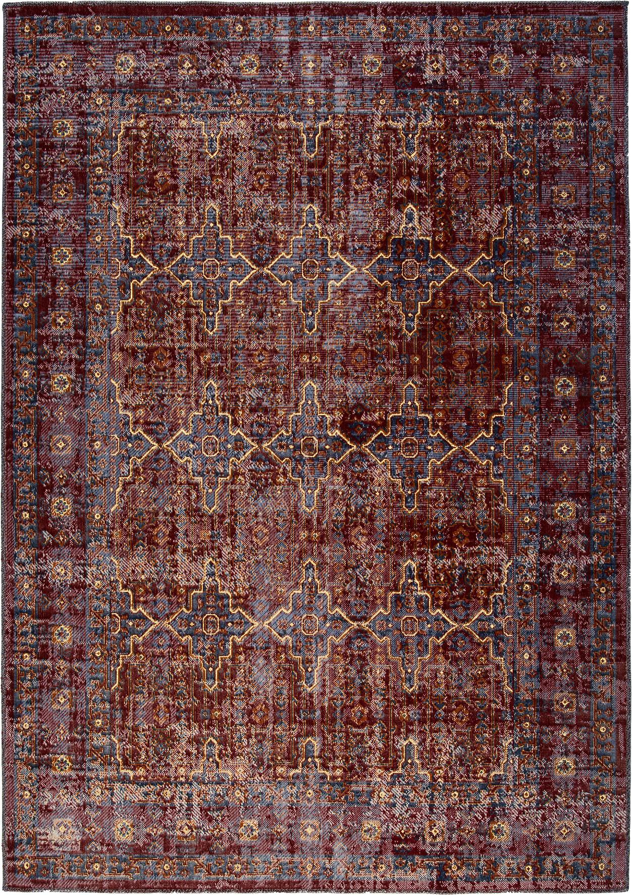 In- & outdoor vloerkleed Tilas Izmir in donkerrood, Orient Style, Donkerrood, mosterdgeel, kakigroen, B 120 x L 170 cm (maat S)