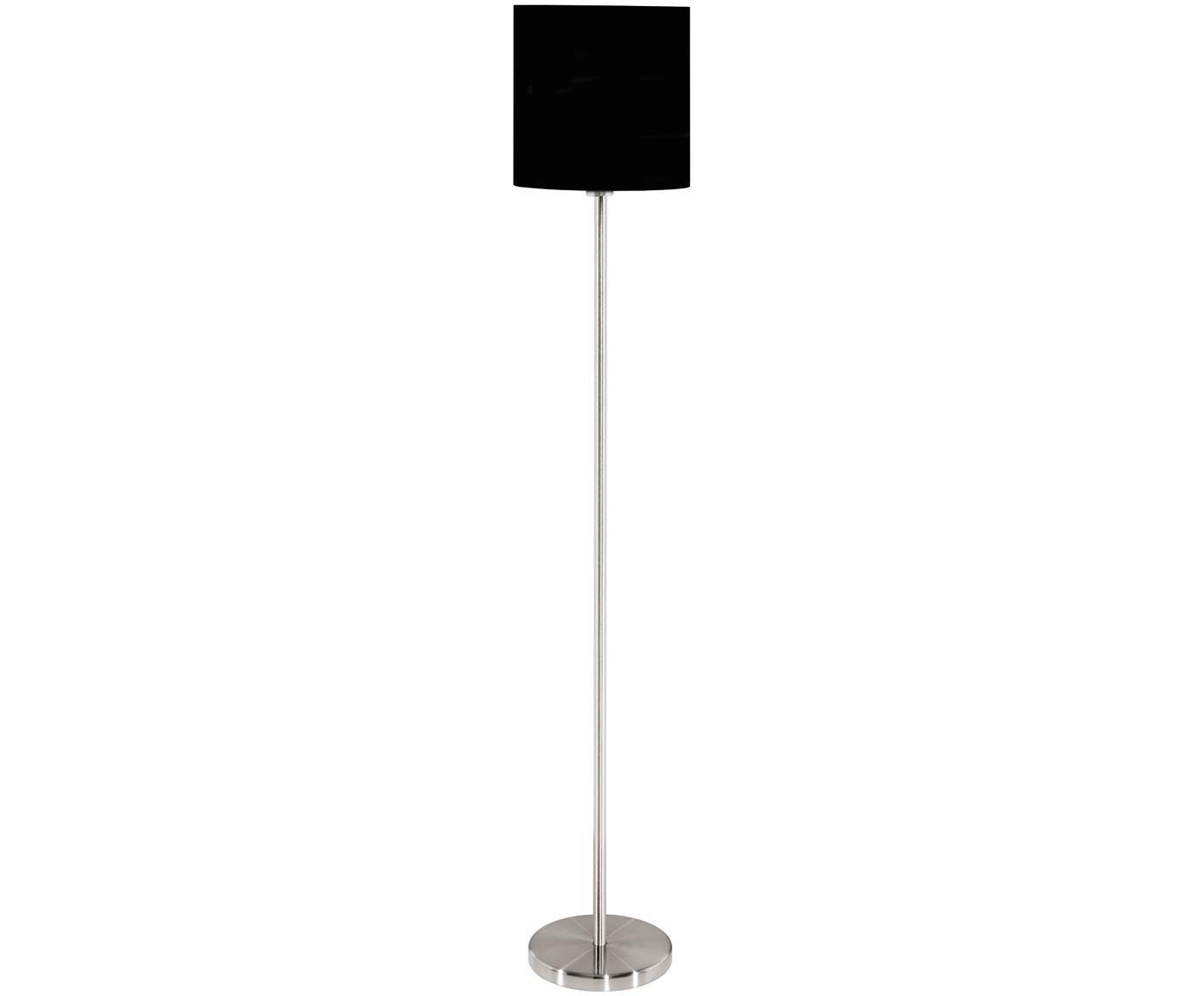 Stehlampe Harry, Lampenschirm: Textil, Lampenfuß: Metall, vernickelt, Schwarz,Silberfarben, ∅ 28 x H 158 cm