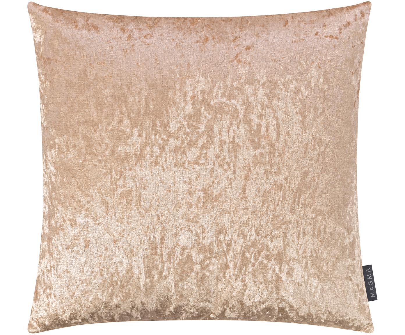 Samt-Kissenhülle Shanta mit schimmerndem Vintage-Muster, 100% Polyestersamt, Champagnerfarben, 40 x 40 cm