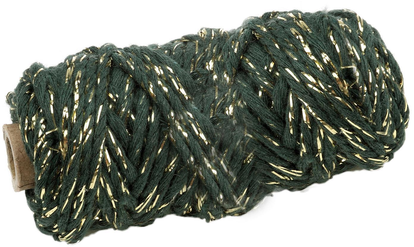 Geschenkschnur Twist, Baumwolle mit Lurexfaden, Grün, Goldfarben, L 25 m