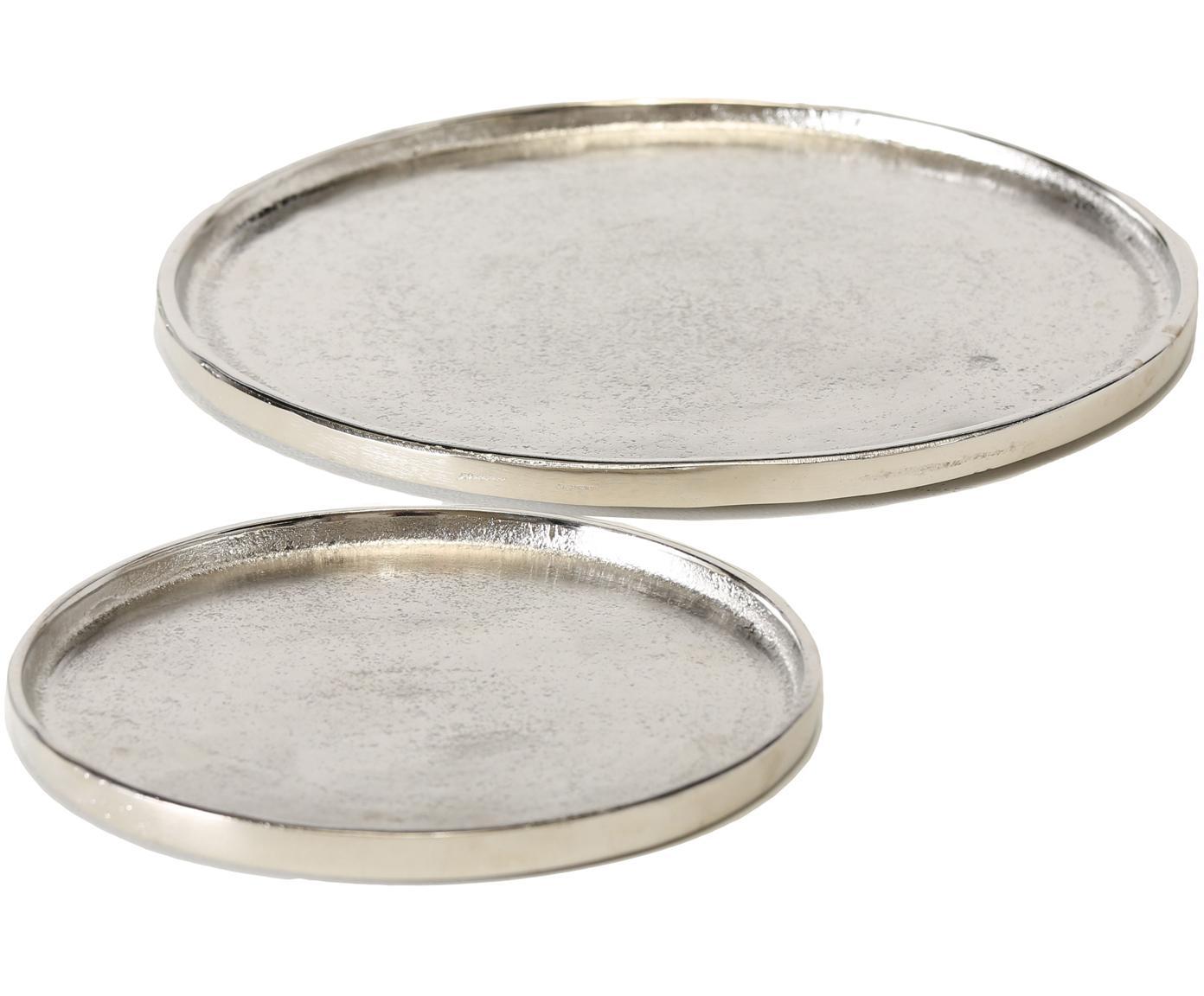 Deko-Tablett-Set Valomi, 2-tlg., Aluminium, Nickelfarben, Sondergrößen