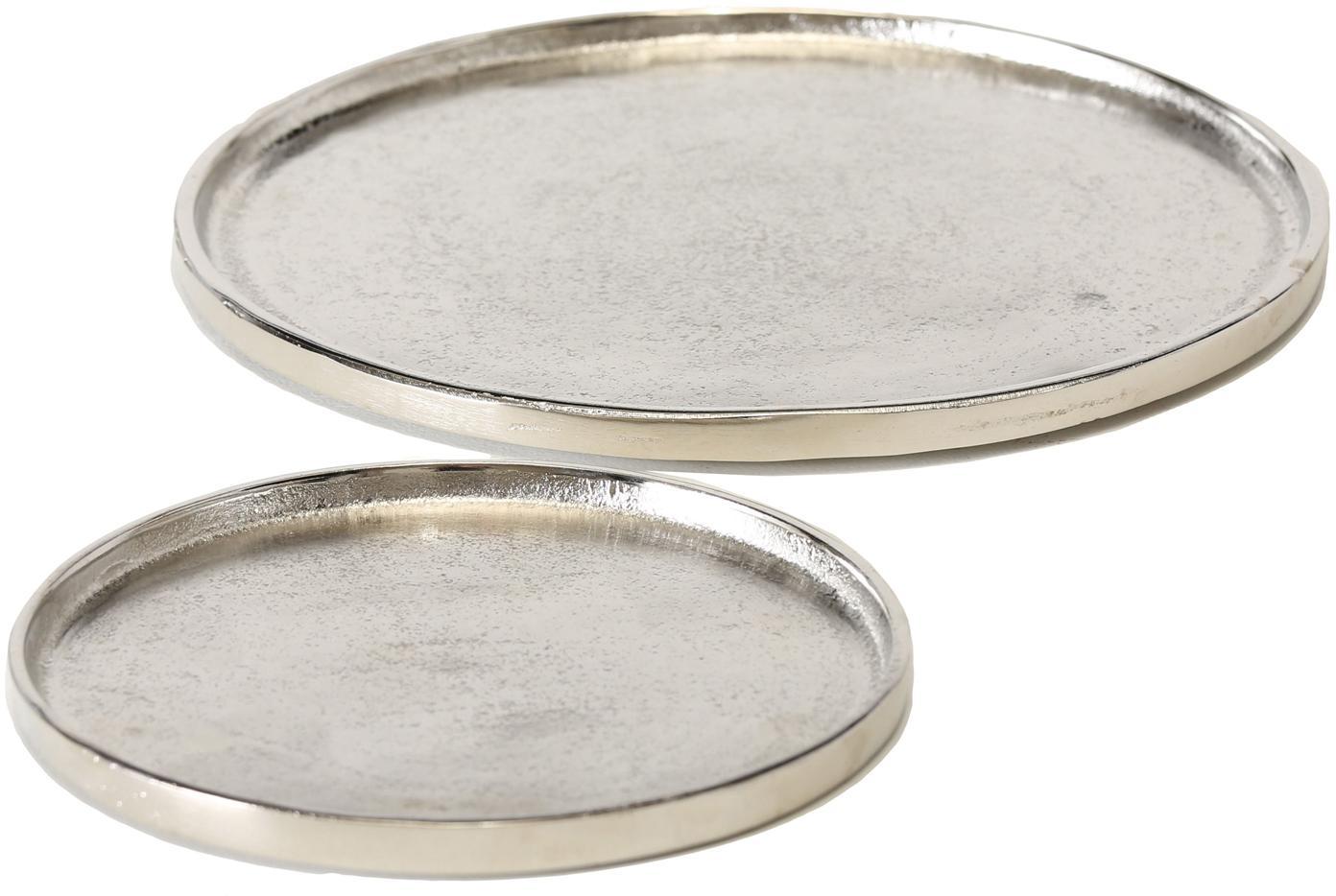 Decoratieve dienbladenset Valomi, 2-delig, Aluminium, Nikkelkleurig, Verschillende formaten