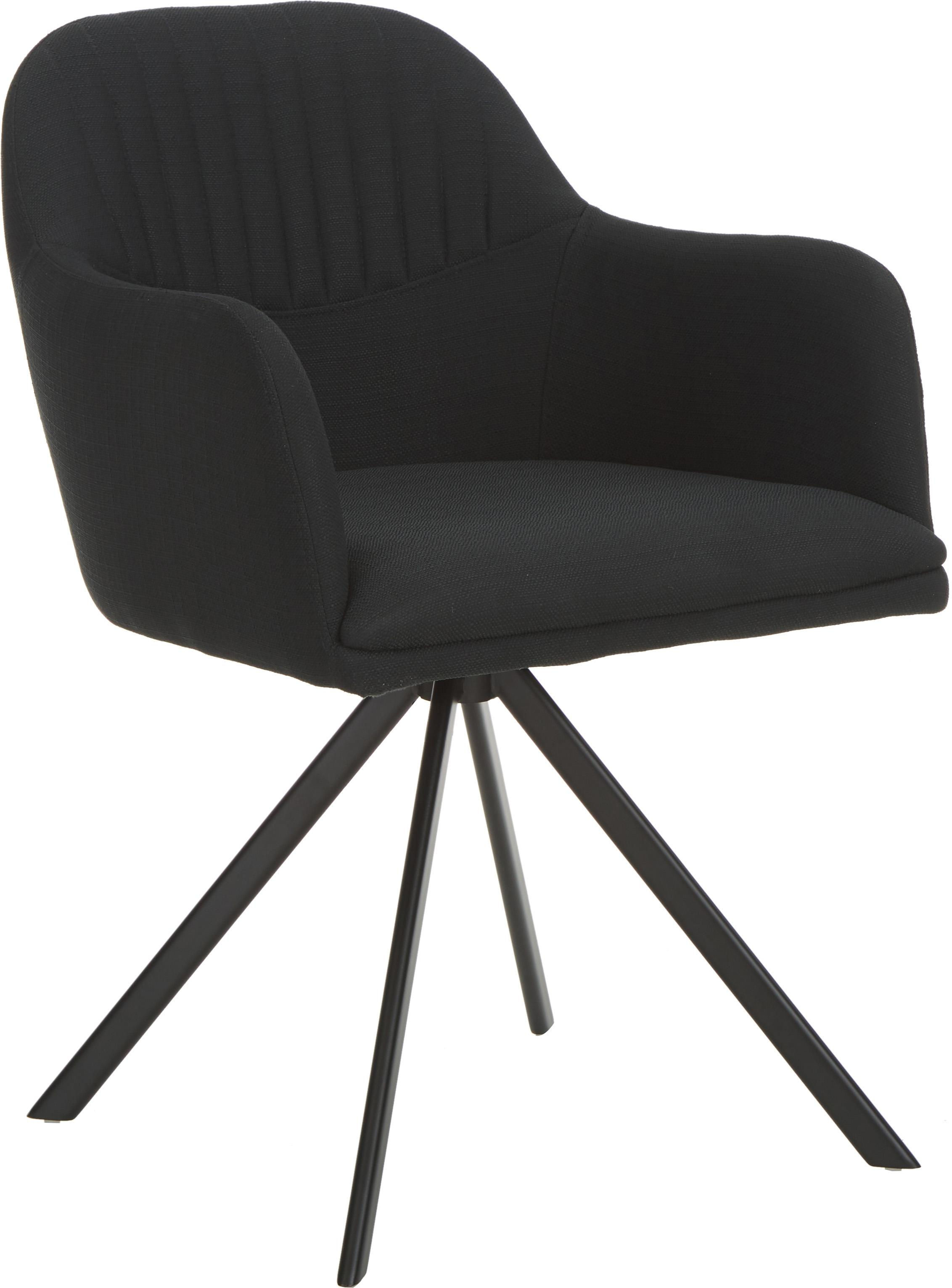 Polster-Drehstuhl Lola mit Armlehne, Bezug: Polyester, Webstoff Schwarz, Beine Schwarz, B 55 x T 52 cm