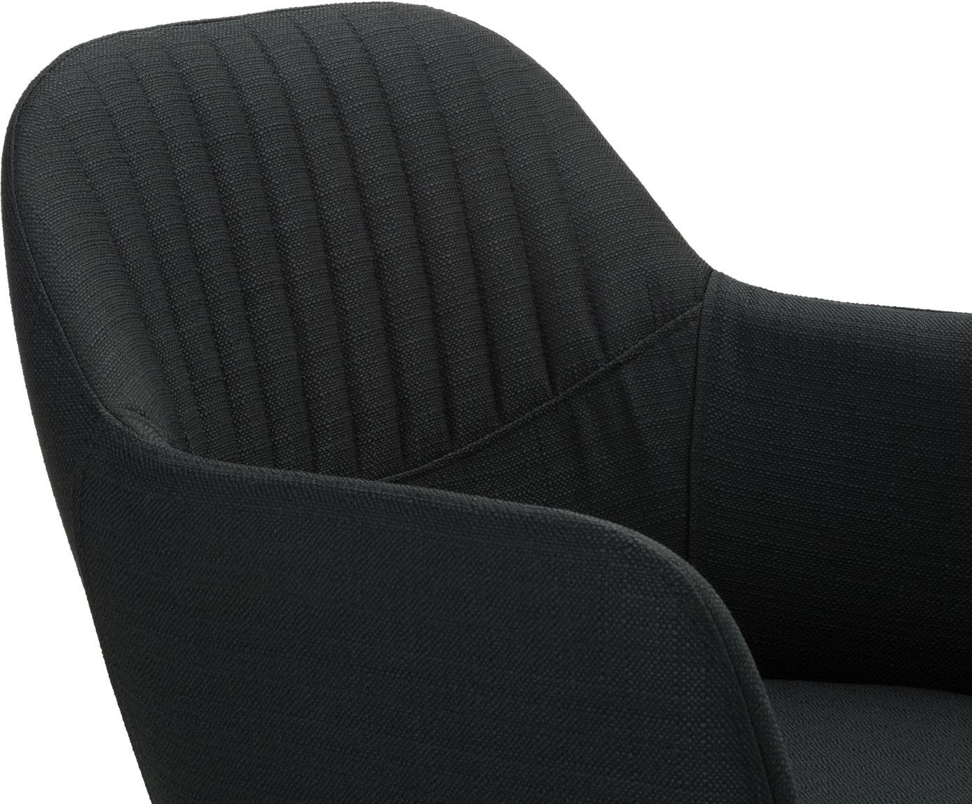 Beklede draaistoel Lola met armleuning, Bekleding: polyester, Poten: gepoedercoat metaal, Geweven stof zwart, poten zwart, B 55 x D 52 cm