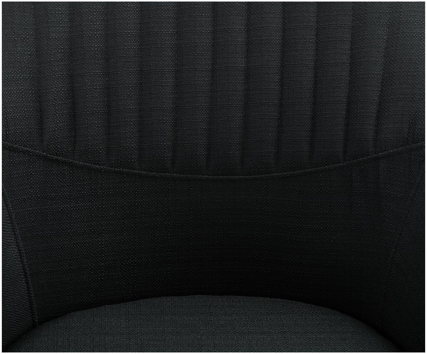 Silla giratoria con reposabrazos tapizada Lola, Tapizado: poliéster, Patas: metal con pintura en polv, Negro, An 55 x F 52 cm