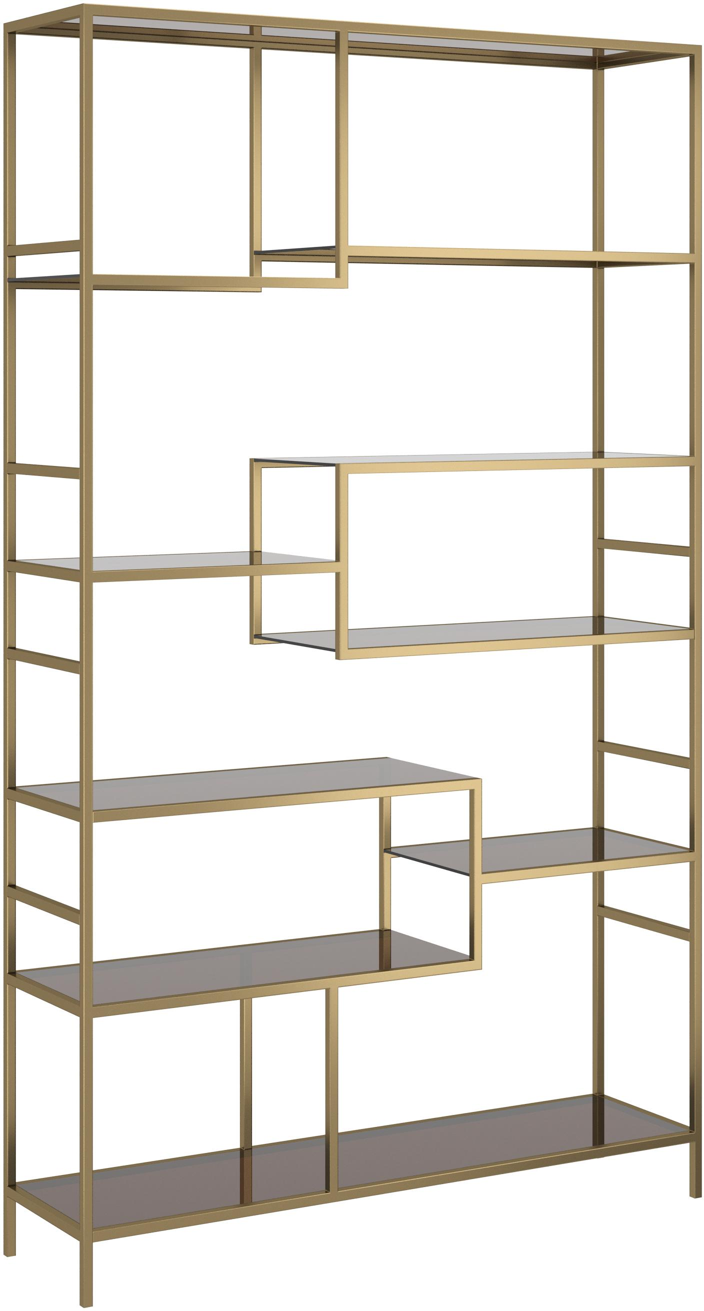 Libreria in metallo ottonato Loft, Struttura: metallo verniciato a polv, Ripiani: vetro temperato colorato, Ottonato, Larg. 115 x Alt. 195 cm