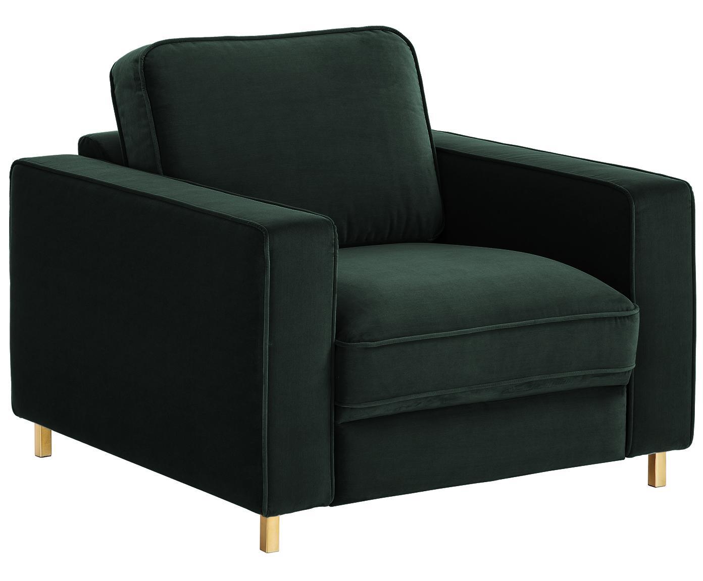 Fluwelen fauteuil Chelsea, Bekleding: fluweel (hoogwaardig poly, Frame: massief vurenhout, Poten: gecoat metaal, Donkergroen, B 83 x D 93 cm