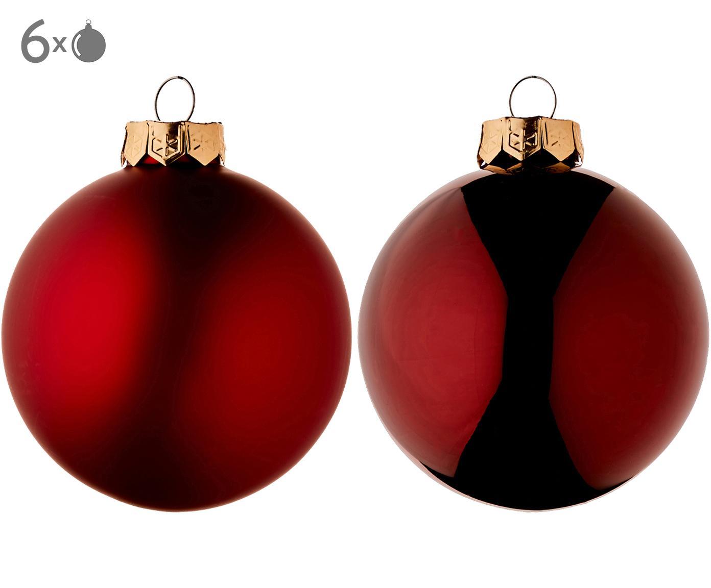 Kerstballenset Evergreen, 6-delig, Rood, Ø 8 cm