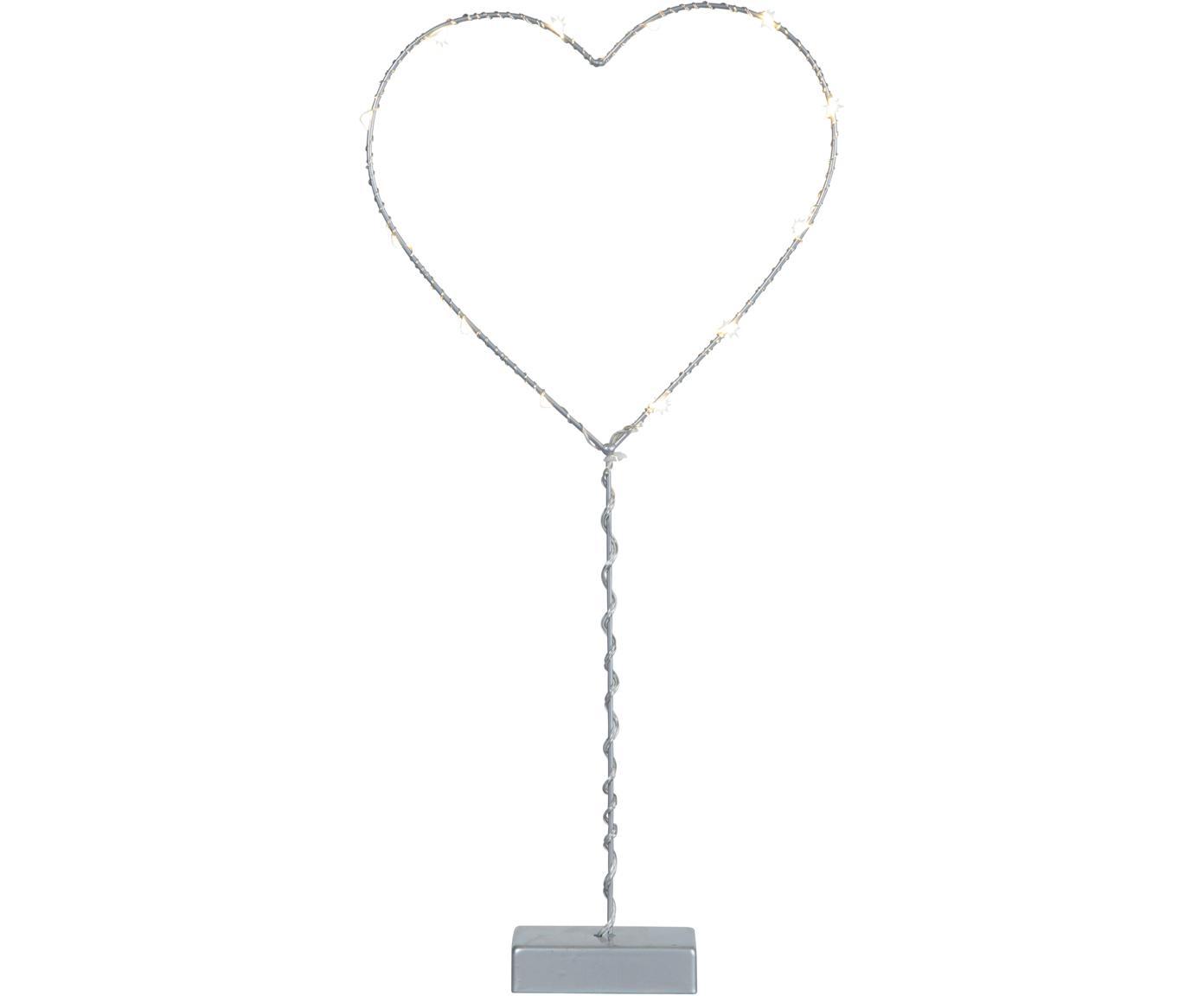 LED Leuchtobjekt Heart, batteriebetrieben, Grau, 20 x 43 cm