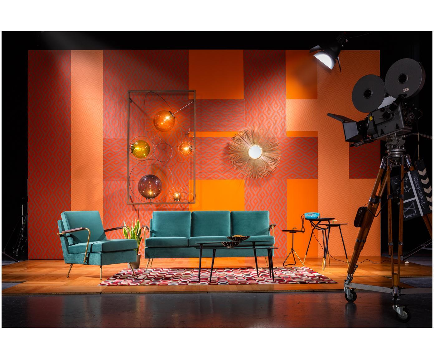 Samt-Sofa Gamble (3-Sitzer), Bezug: Polyestersamt 100.000 Sch, Korpus: Kiefernholz, unbehandelt, Grün, B 179 x T 75 cm