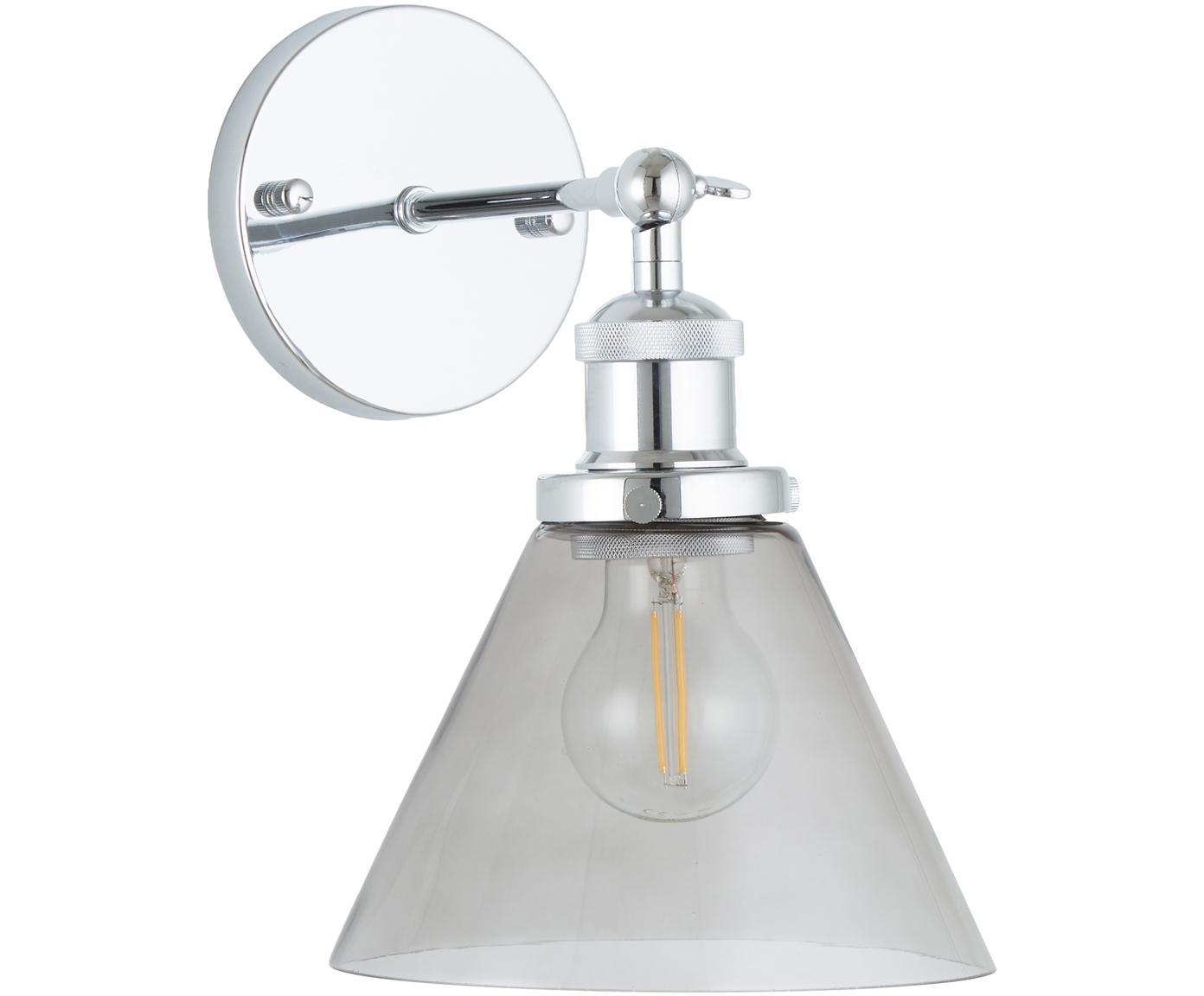 Wandleuchte New York Loft No.1, Lampenschirm: Glas, Grau, Chrom, 19 x 29 cm