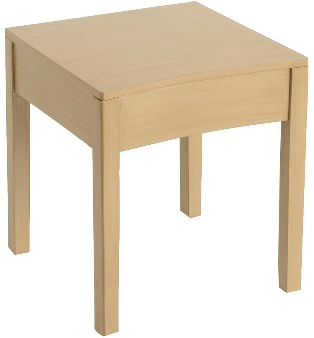 Mesa auxiliar Tonkin, Patas: madera de bayur, Tablero: madera con chapa de roble, Beige, An 40 x F 40 cm