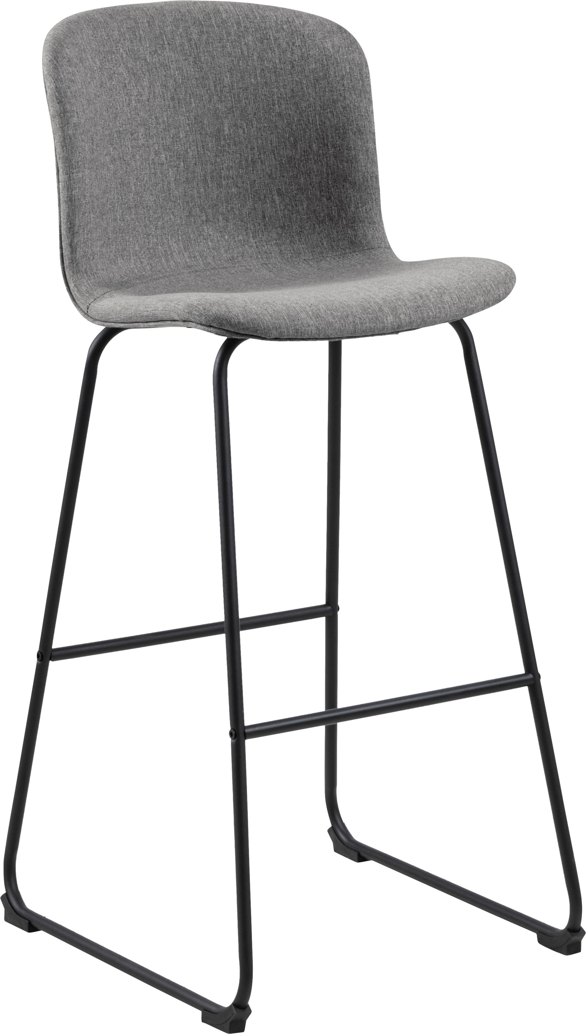 Sedia da bar Story 2 pz, Rivestimento: poliestere, Struttura: metallo verniciato a polv, Grigio, nero, Larg. 50 x Prof. 55 cm