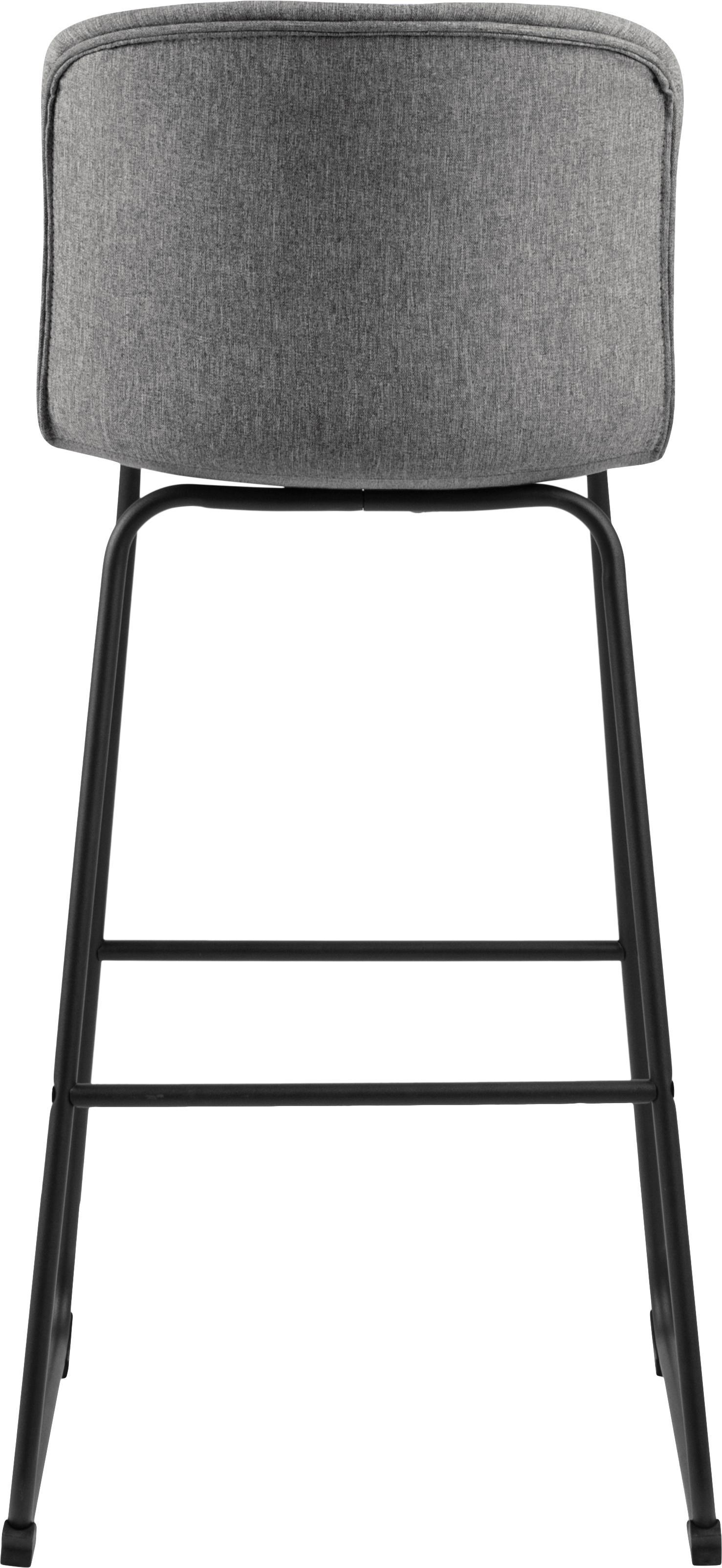 Barstühle Story, 2 Stück, Bezug: Polyester, Gestell: Metall, pulverbeschichtet, Grau, Schwarz, B 50 x T 55 cm