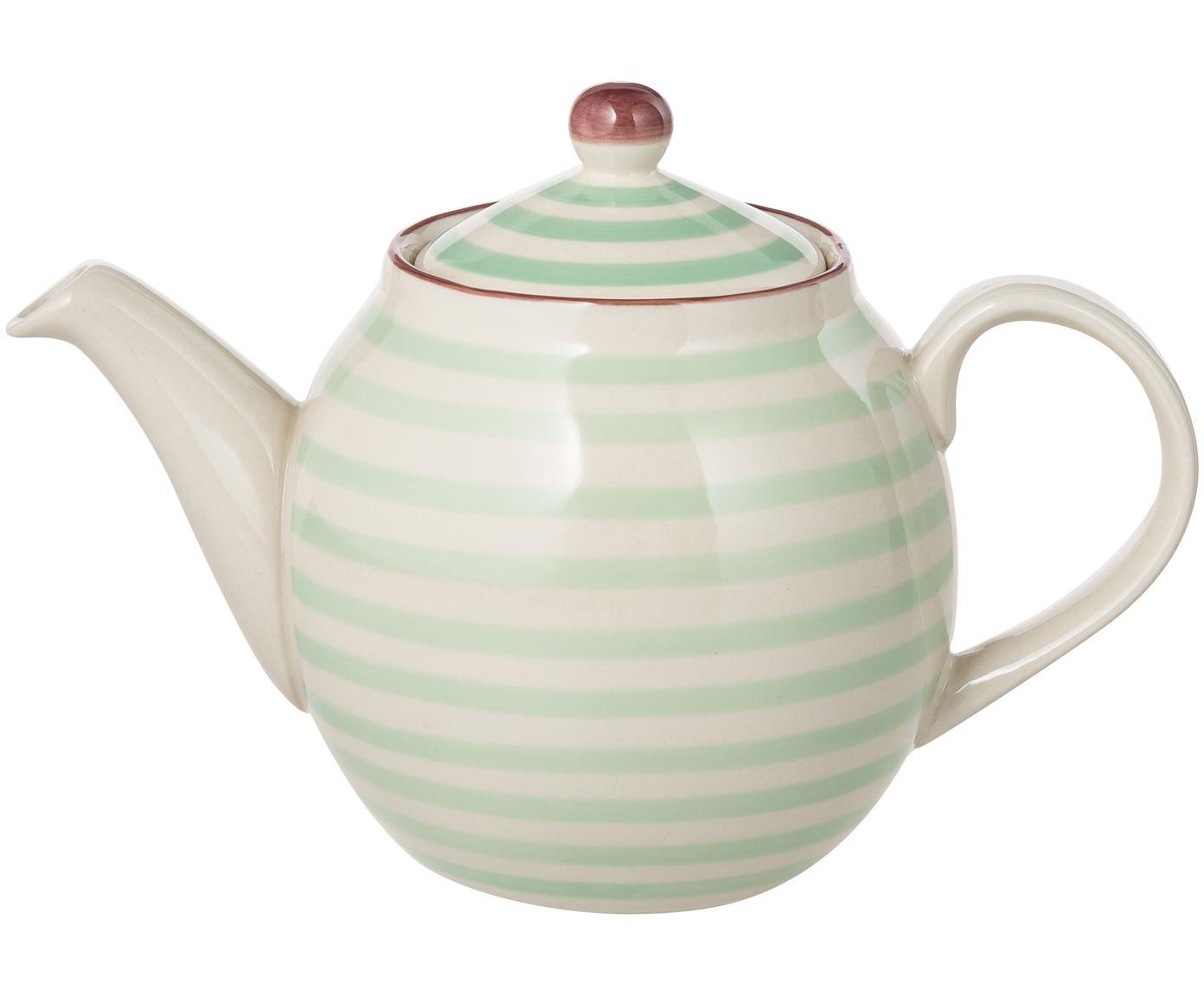 Handbemalte Teekanne Patrizia mit kleinem Muster, Steingut, Außen: Grün, Creme, Violett<br>Innen: Creme, 1.2 L