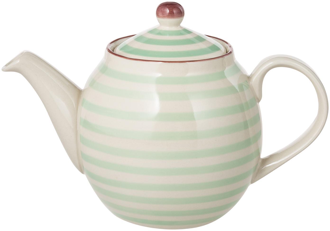 Tetera artesanal Patrizia, Gres, Verde, crema, violeta, 1.2 L
