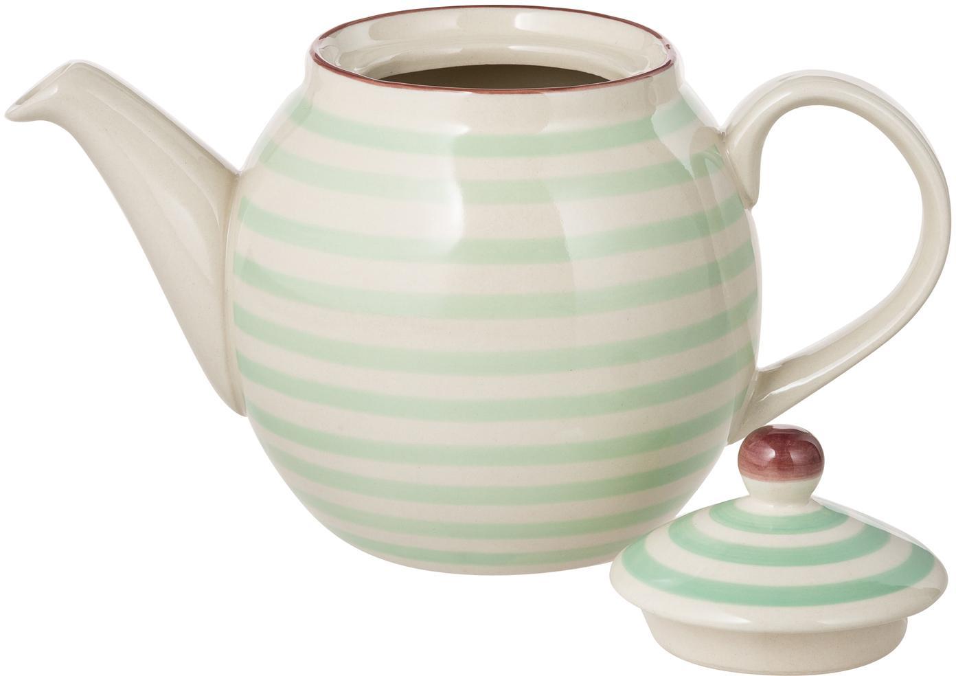 Handbemalte Teekanne Patrizia mit verspieltem Muster, Steingut, Außen: Grün, Creme, Violett<br>Innen: Creme, 1.2 L