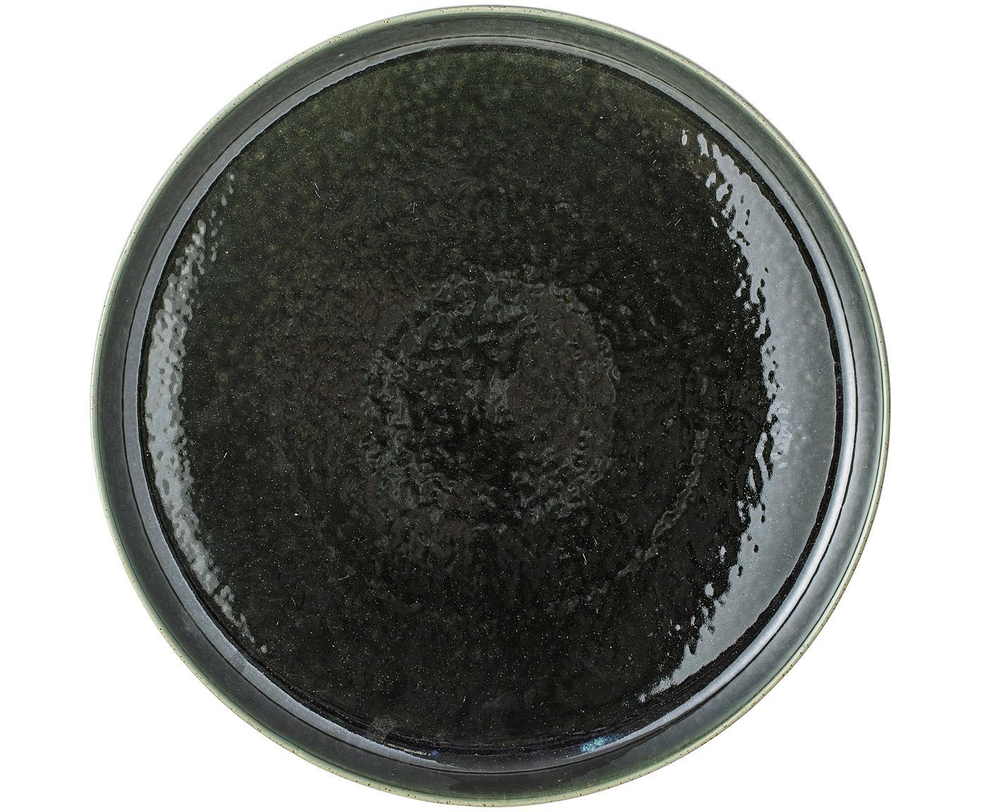 Ręcznie wykonana taca Lara, Kamionka, Zielony, Ø 33 cm