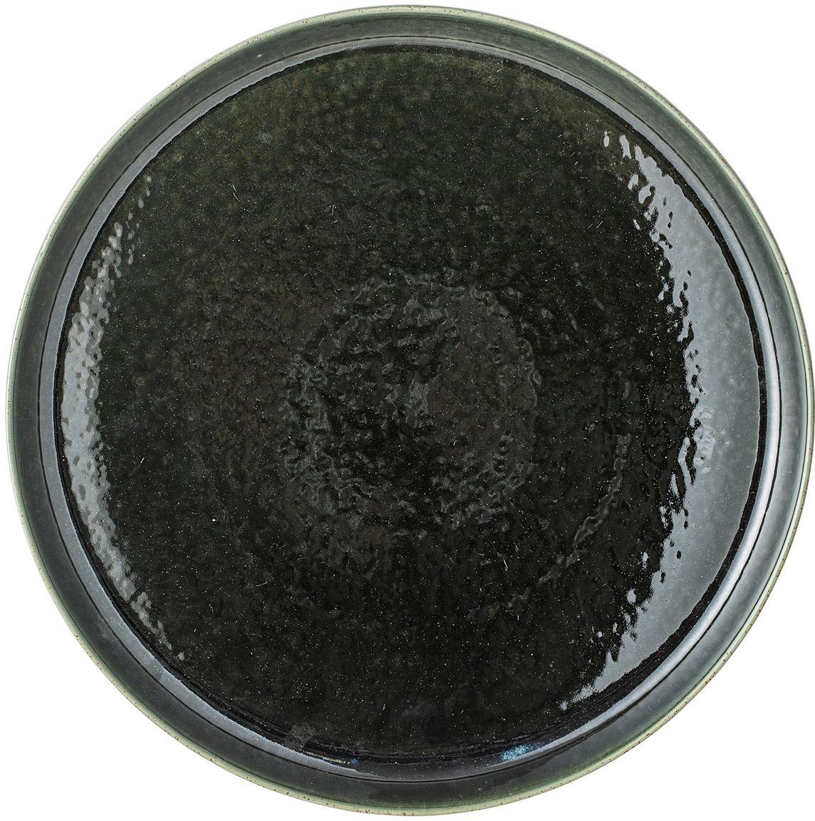 Handgefertigtes Tablett Lara, Steingut, Grün, Ø 33 cm